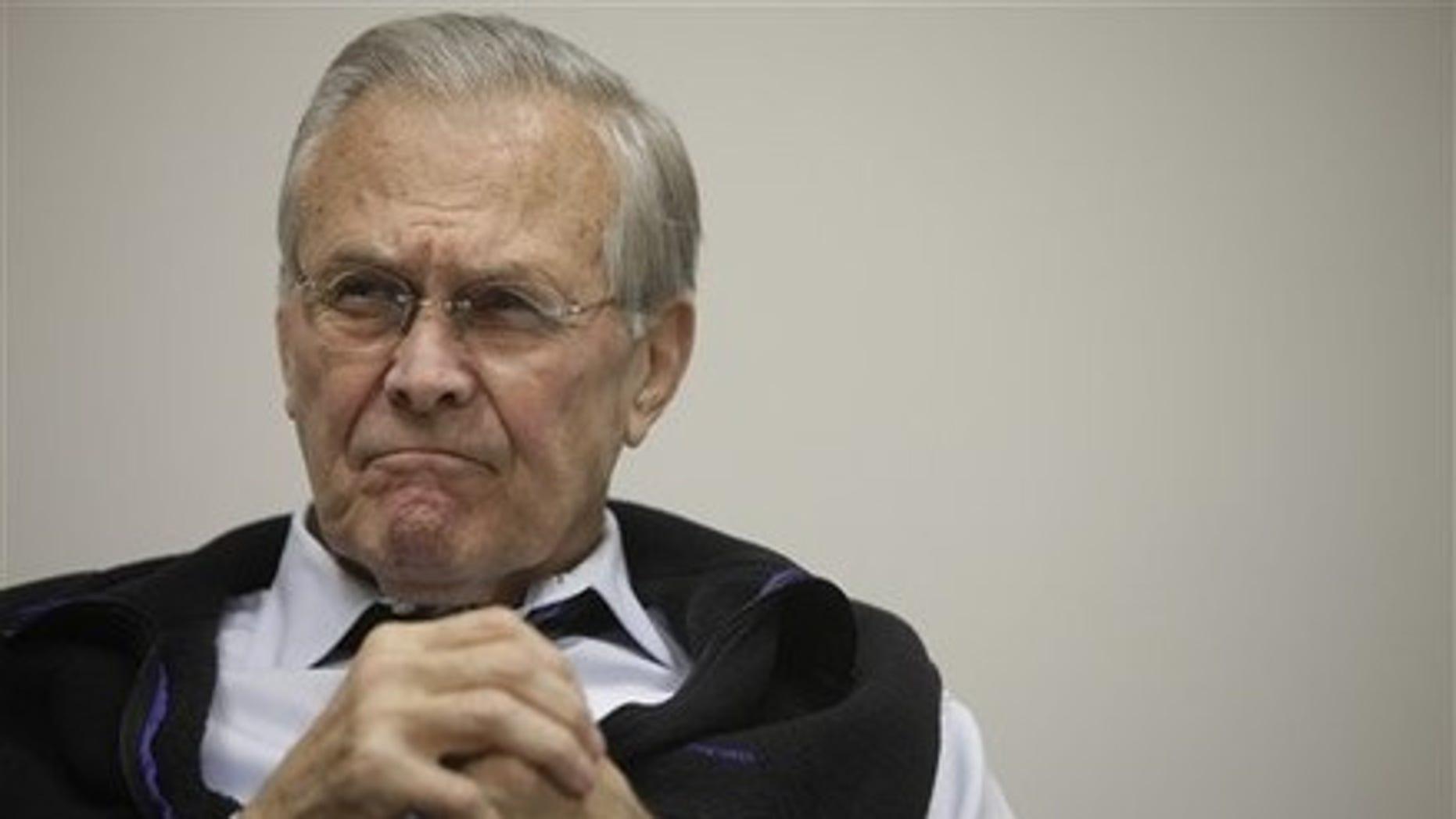 Thursday: Former Defense Secretary Donald H. Rumsfeld is interviewed at his office in Washington.