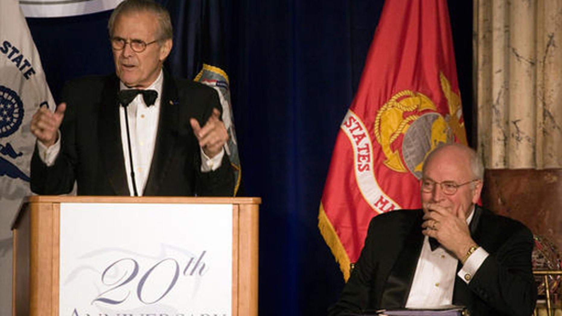 Oct. 21, 2009: Former Defense Secretary Donald Rumsfeld speaks as former Vice President Dick Cheney listens at the Center For Security Policy dinner in Washington, D.C. (AP Photo)