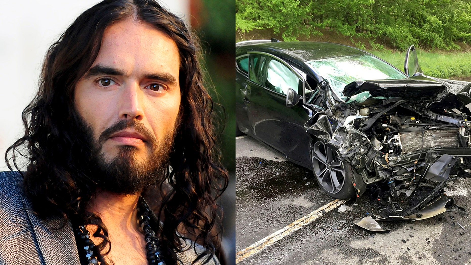"Russell Brand's (left) mother was involved in a car crash that left her with ""numerous life-threatening injuries."""