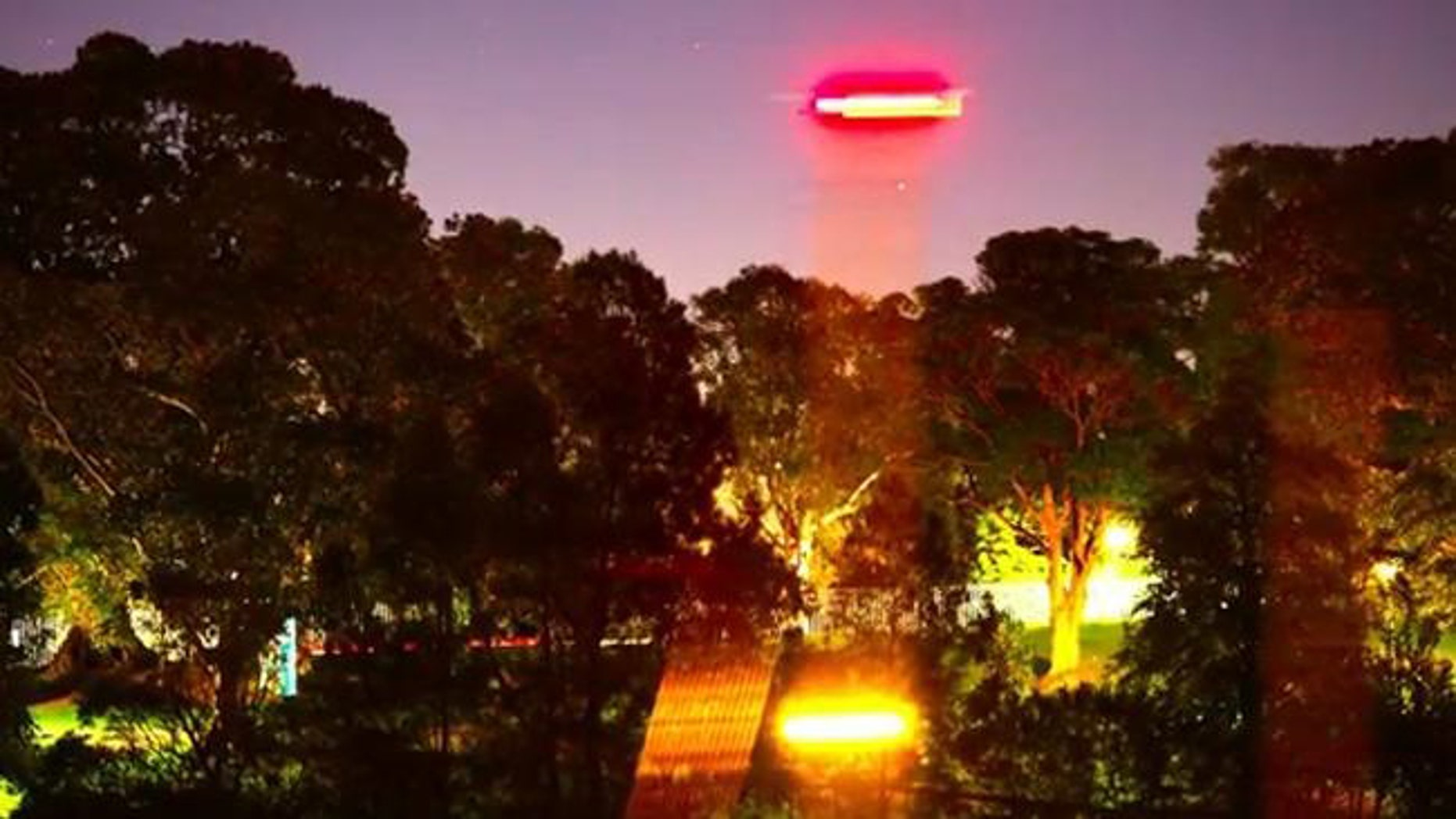 Actor Russell Crowe's footage of a 'UFO' over Sydney's Royal Botanic Gardens.