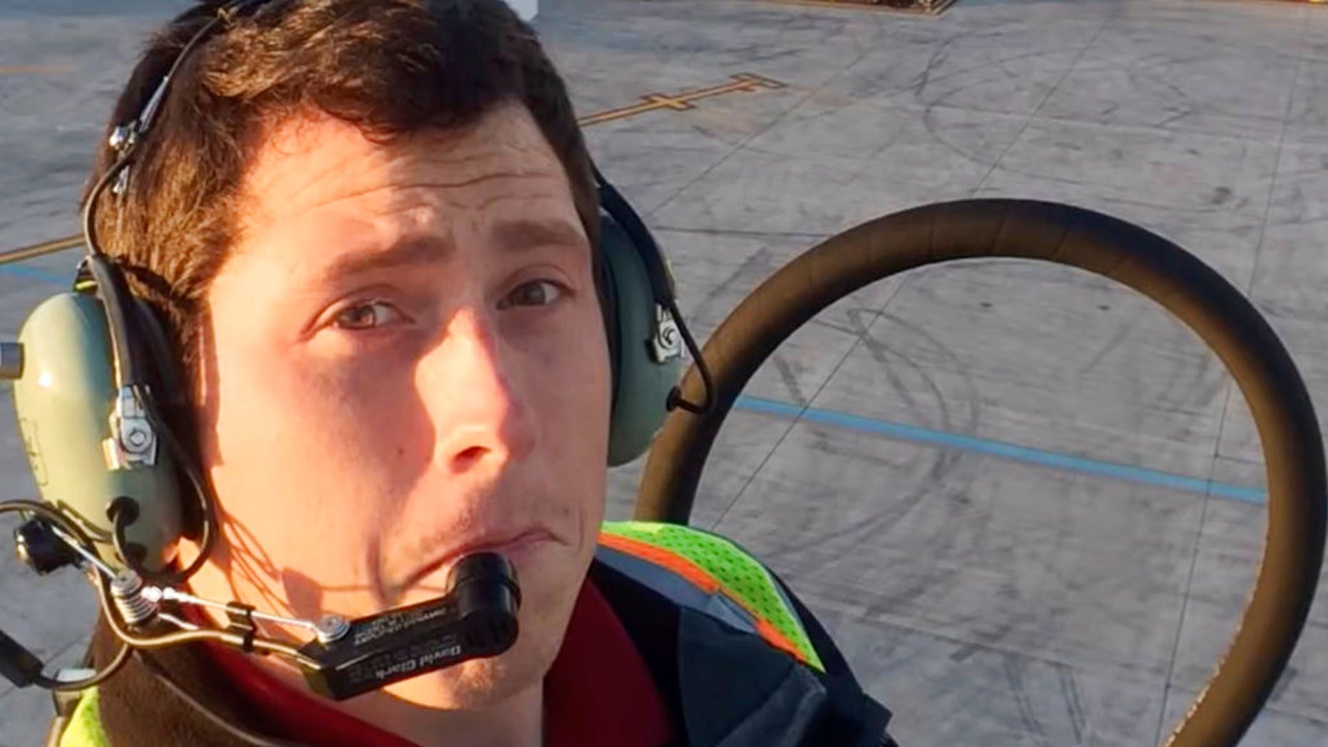 This undated image posted to Richard Russell's YouTube channel shows Russell, an airline ground agent. Investigators are piecing together how Russell stole an empty commercial airplane, took off from Sea-Tac International Airport in Seattle, and crashed into a small island in the Puget Sound in Washington. (Richard Russell/YouTube via AP)
