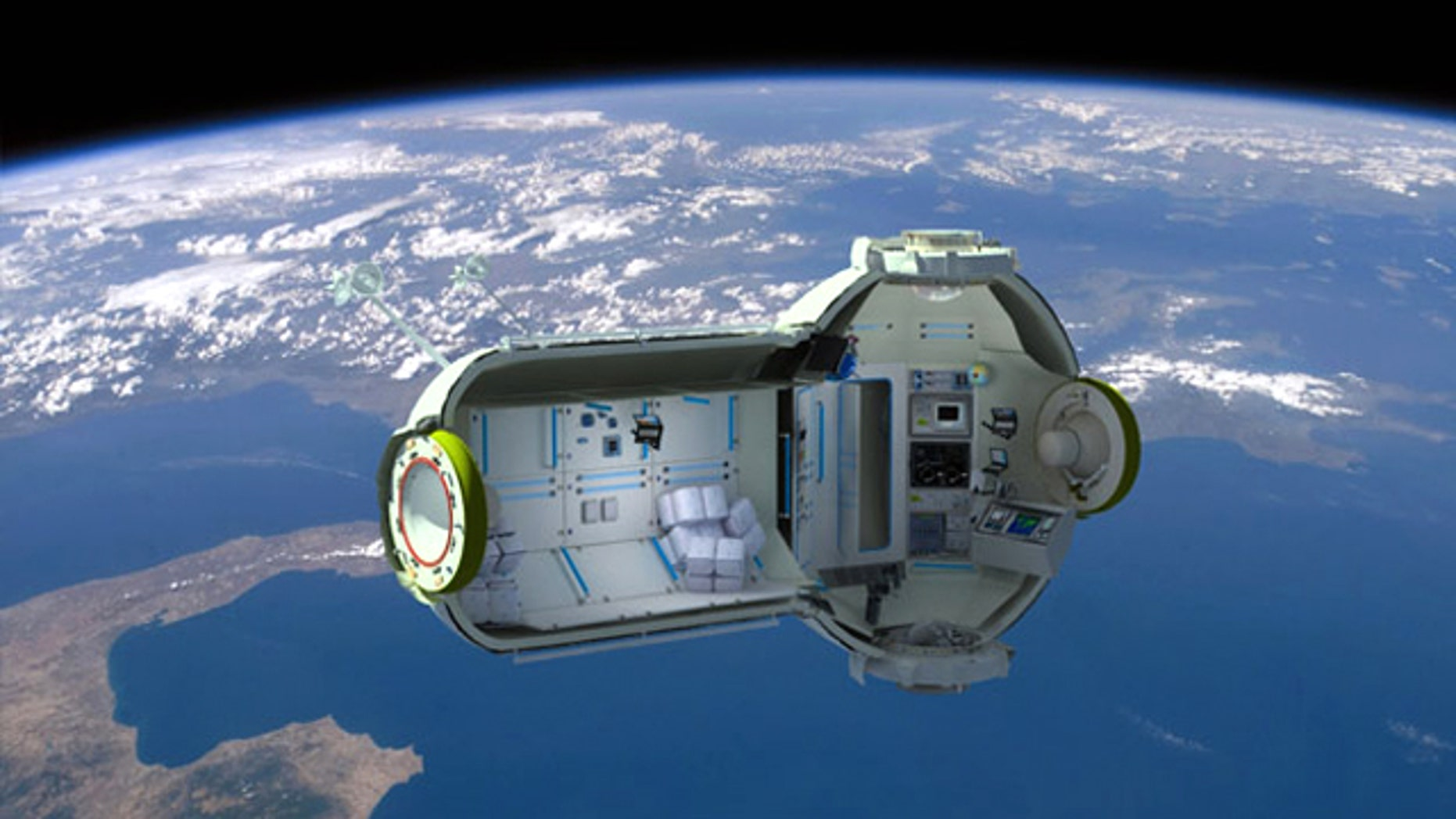A cross-section of the planned Commercial Space Station, as envisioned by Russian companies Orbital Technologies and RSC Energia.