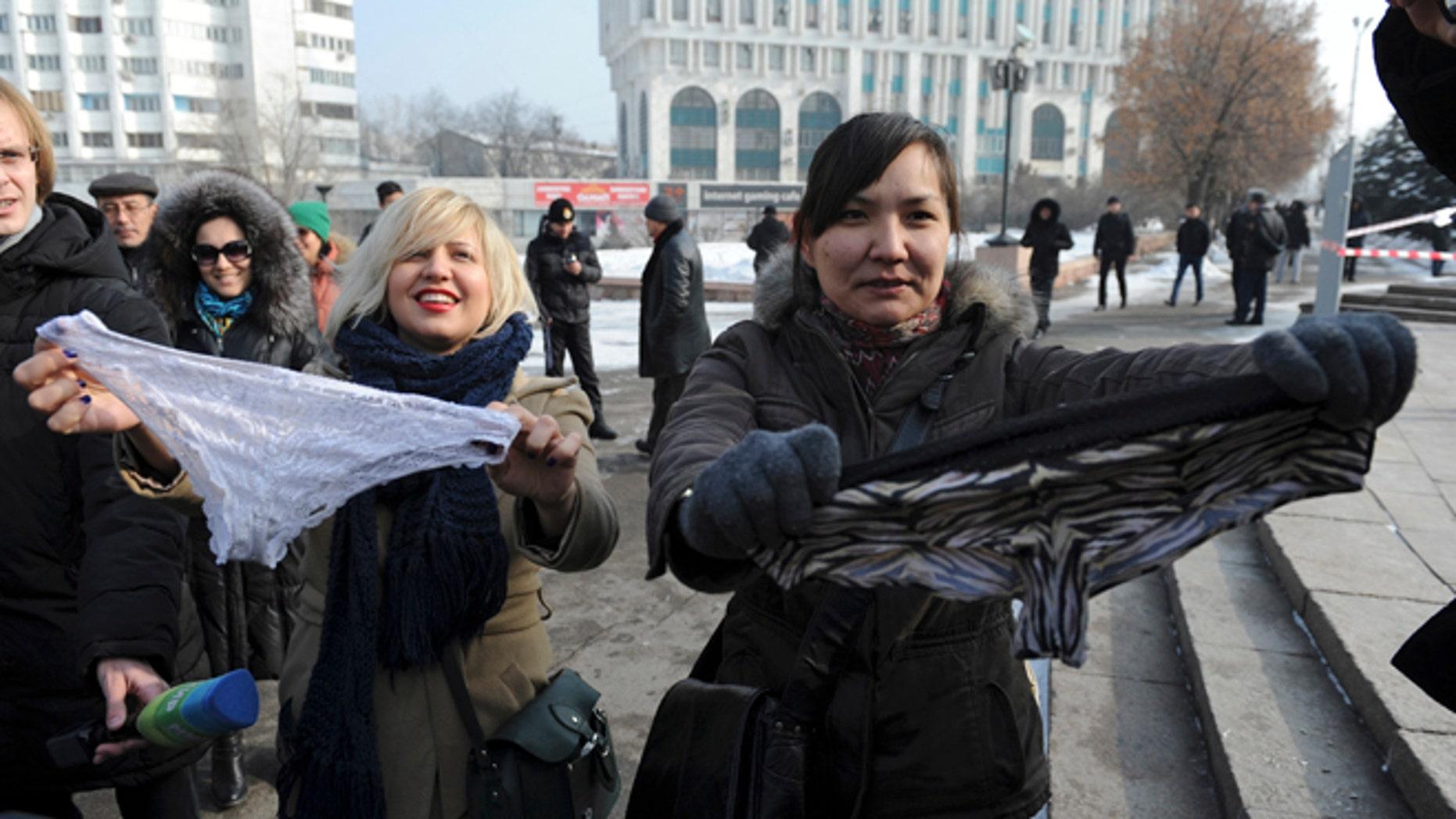 Feb. 16, 2014: Women protest against the ban of lace underwear  in Almaty, Kazakhstan.