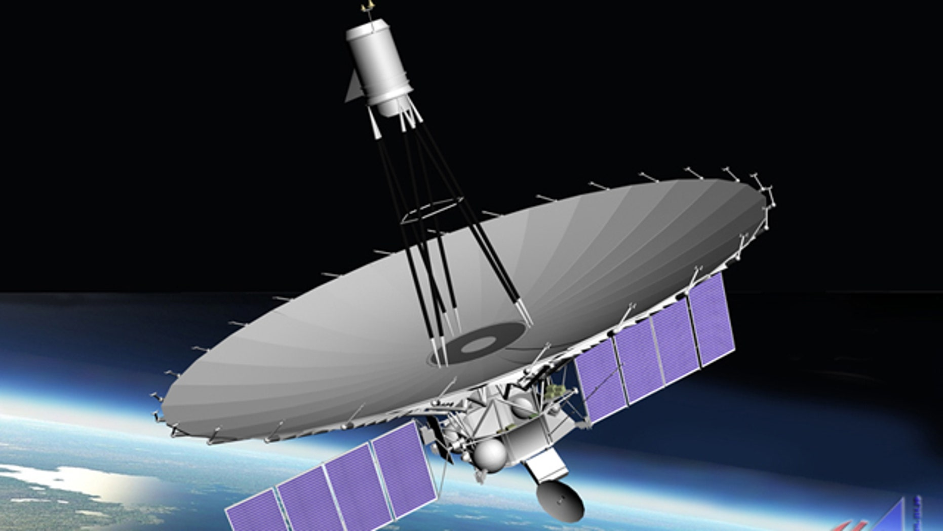 An artist's depiction of Russia's huge Spektr-R radio astronomy satellite in Earth orbit. The satellite launched on July 18, 2011.