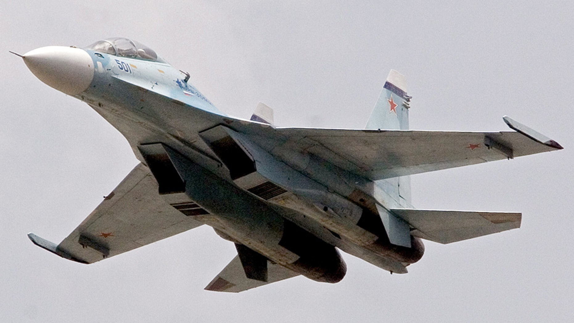A Russian Sukhoi Su-30 fighter jet, similar to the one above, crashed in Syria Thursday, leaving 2 pilots dead.