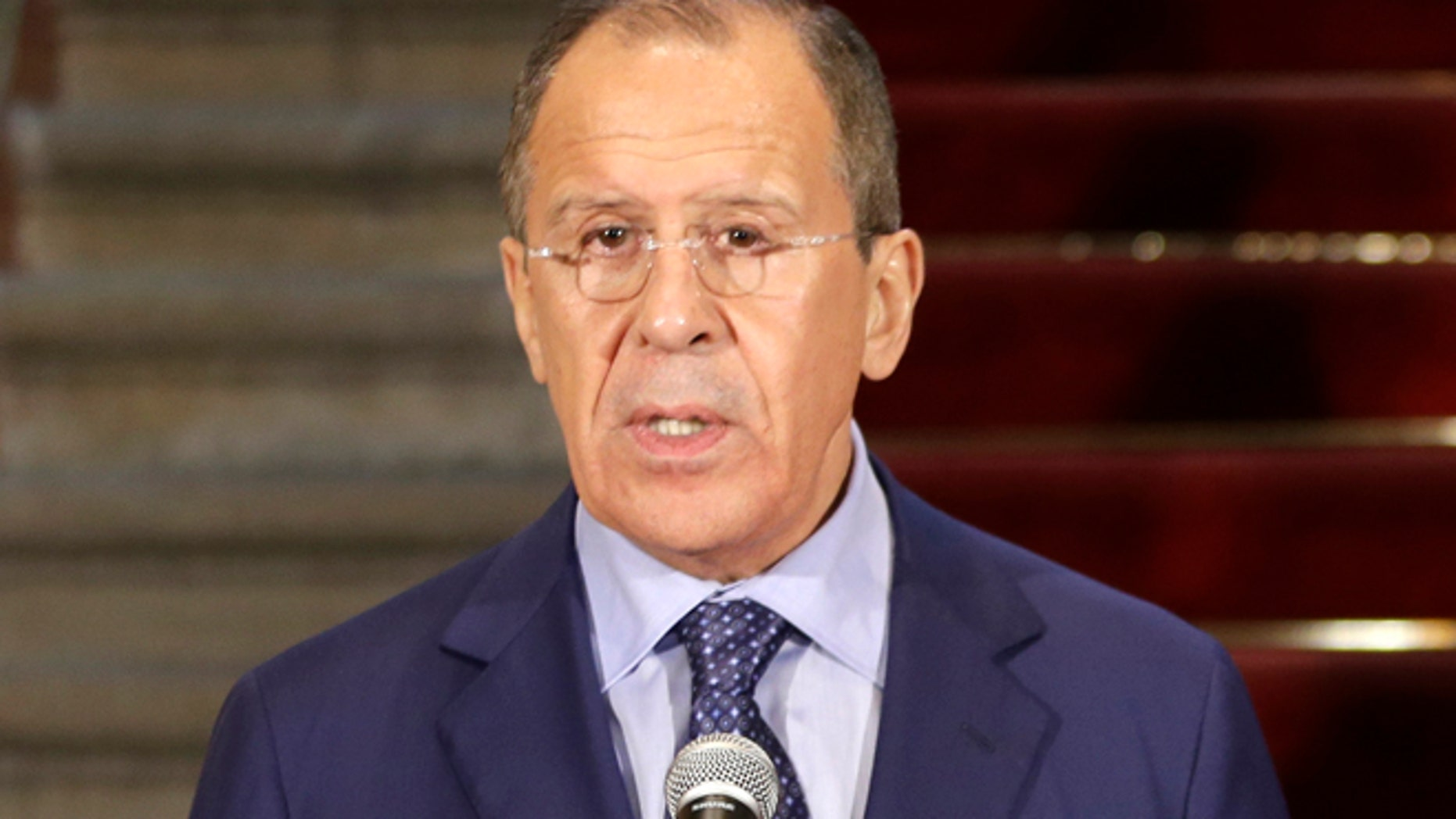 April 30, 2014: Russia's Foreign Minister Sergey Lavrov, speaks during a conference at the Foreign Ministry building in Lima, Peru.  (AP)