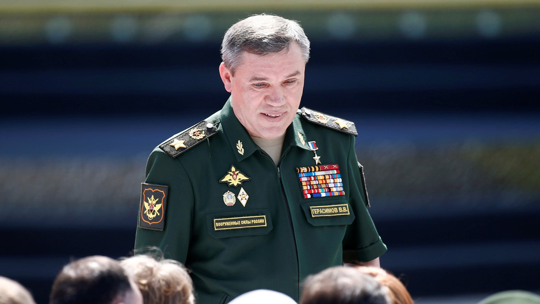 Valery Gerasimov, chief of the general staff of the Armed Forces of Russia, arrives for the opening ceremony of the International Army Games 2017 in Alabino, outside Moscow, back in late July.