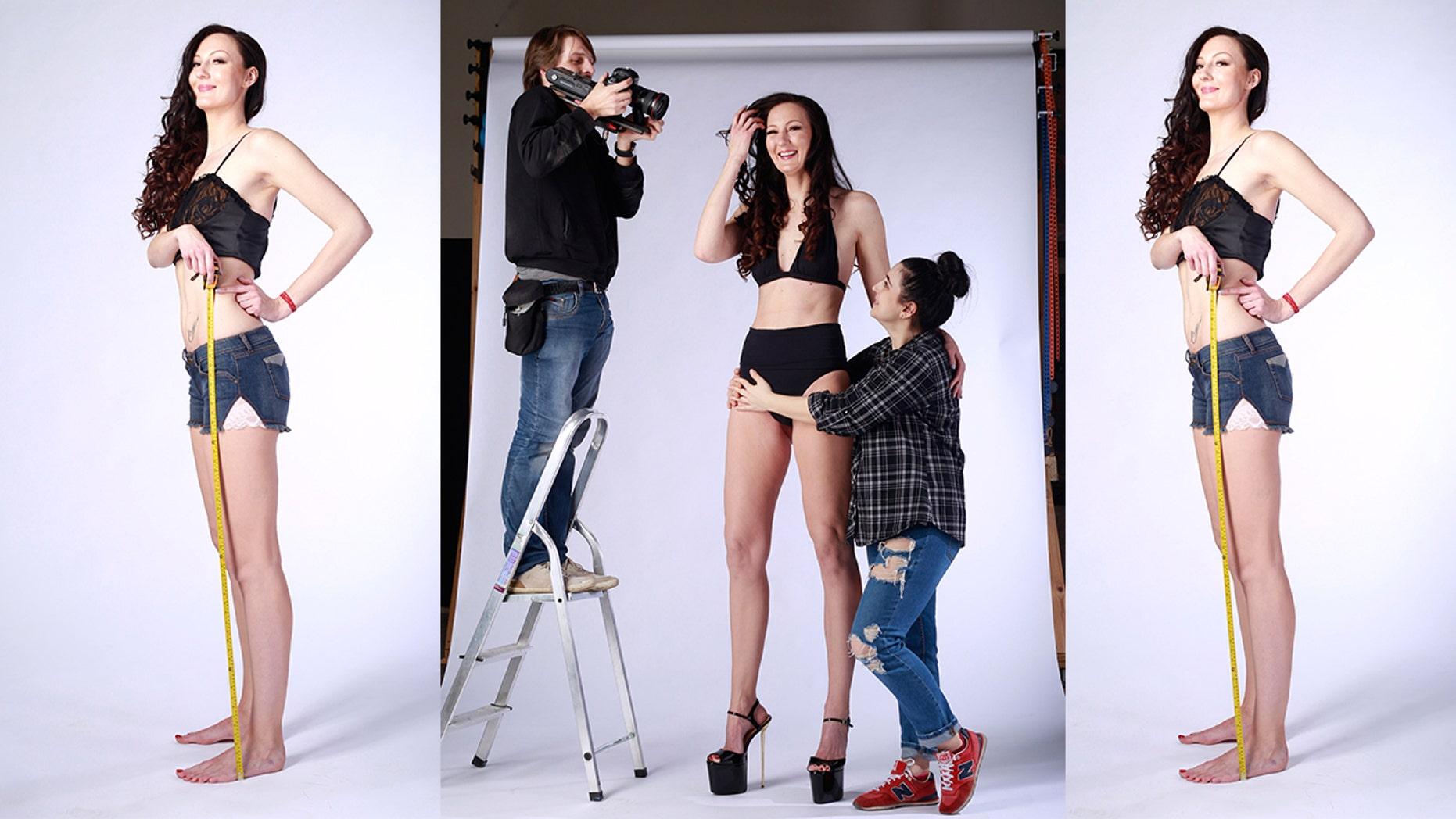 Russian model Ekaterina Lisina wants the world record for longest legs