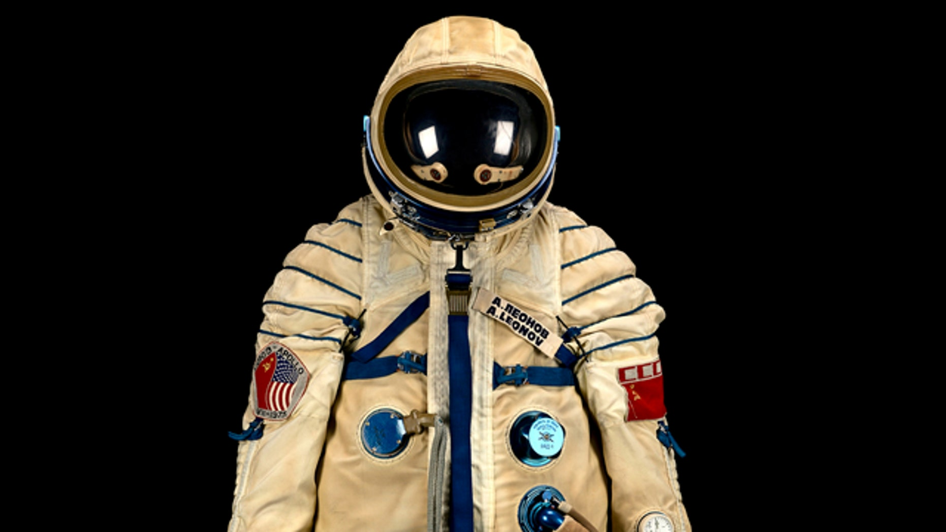 This spacesuit was worn by Russian cosmonaut Alexei Leonov during the historic Apollo-Soyuz Test Project, a joint space mission between the U.S. and Soviet Union in 1975.