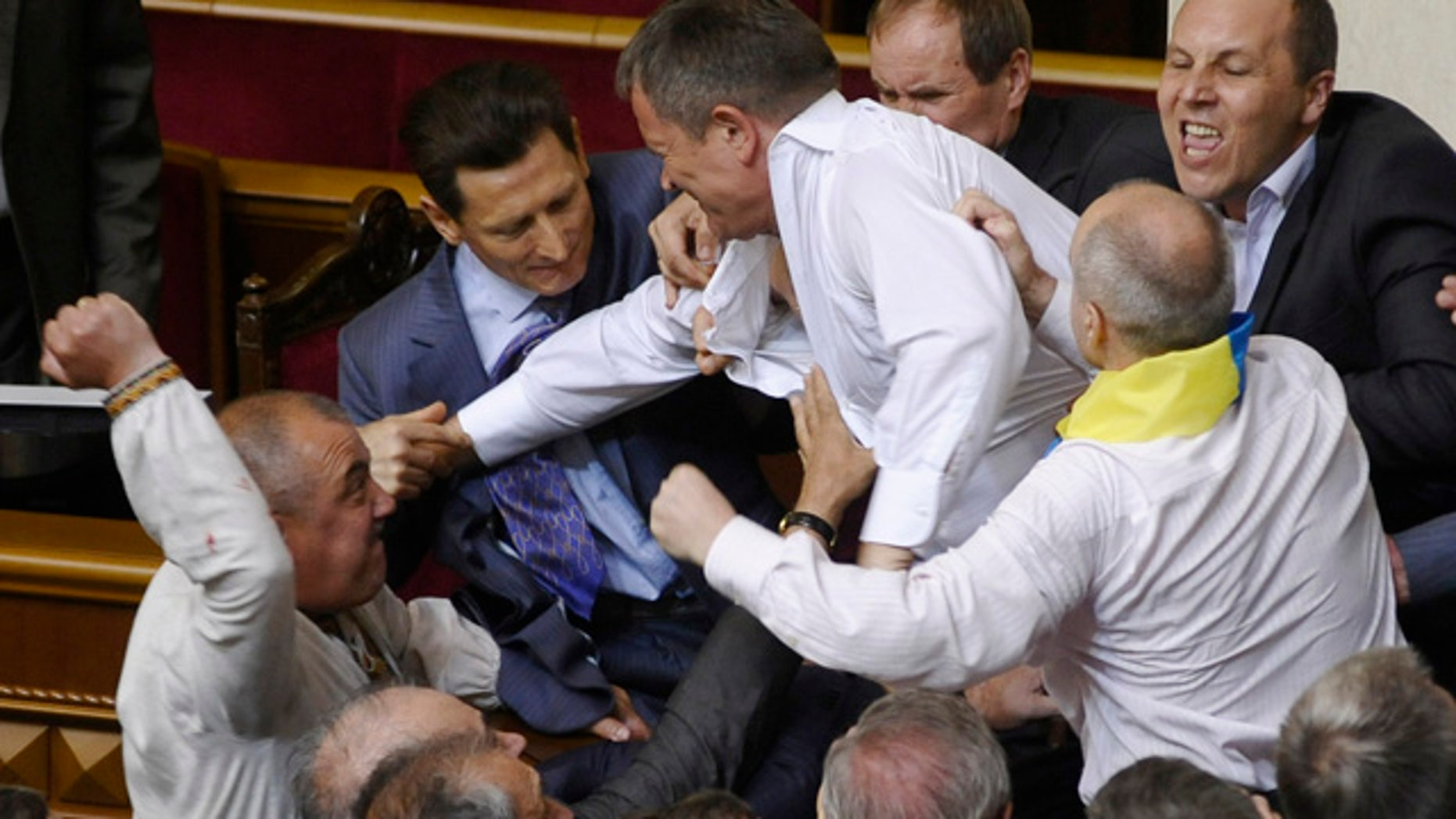 May 24, 2012: Lawmakers from pro-presidential and oppositional factions fight in the parliament session hall in Kiev, Ukraine.