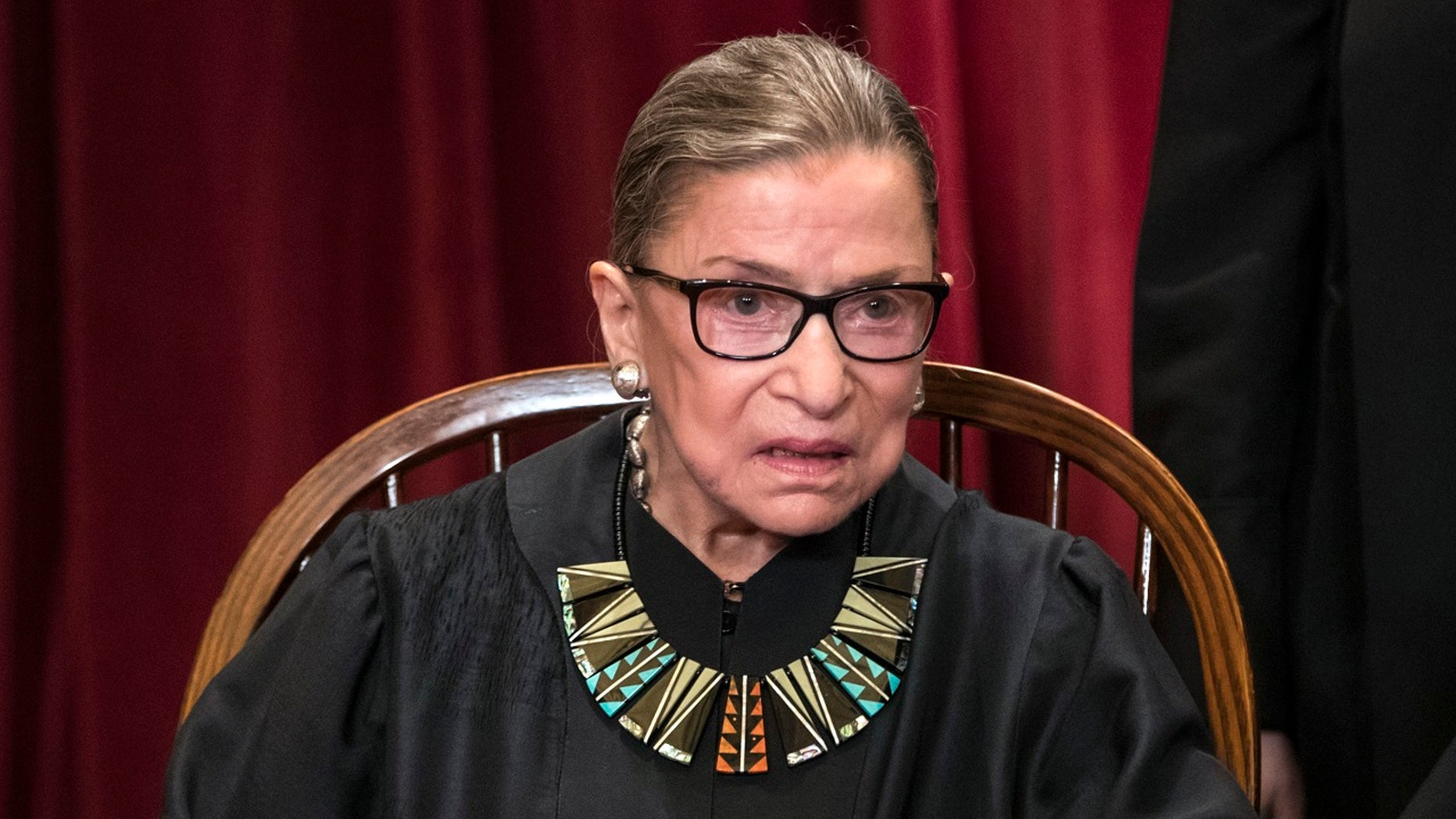 Associate Justice Ruth Bader Ginsburg of the U.S. Supreme Court poses for an official group portrait at the Supreme Court Building in Washington, June 1, 2017.