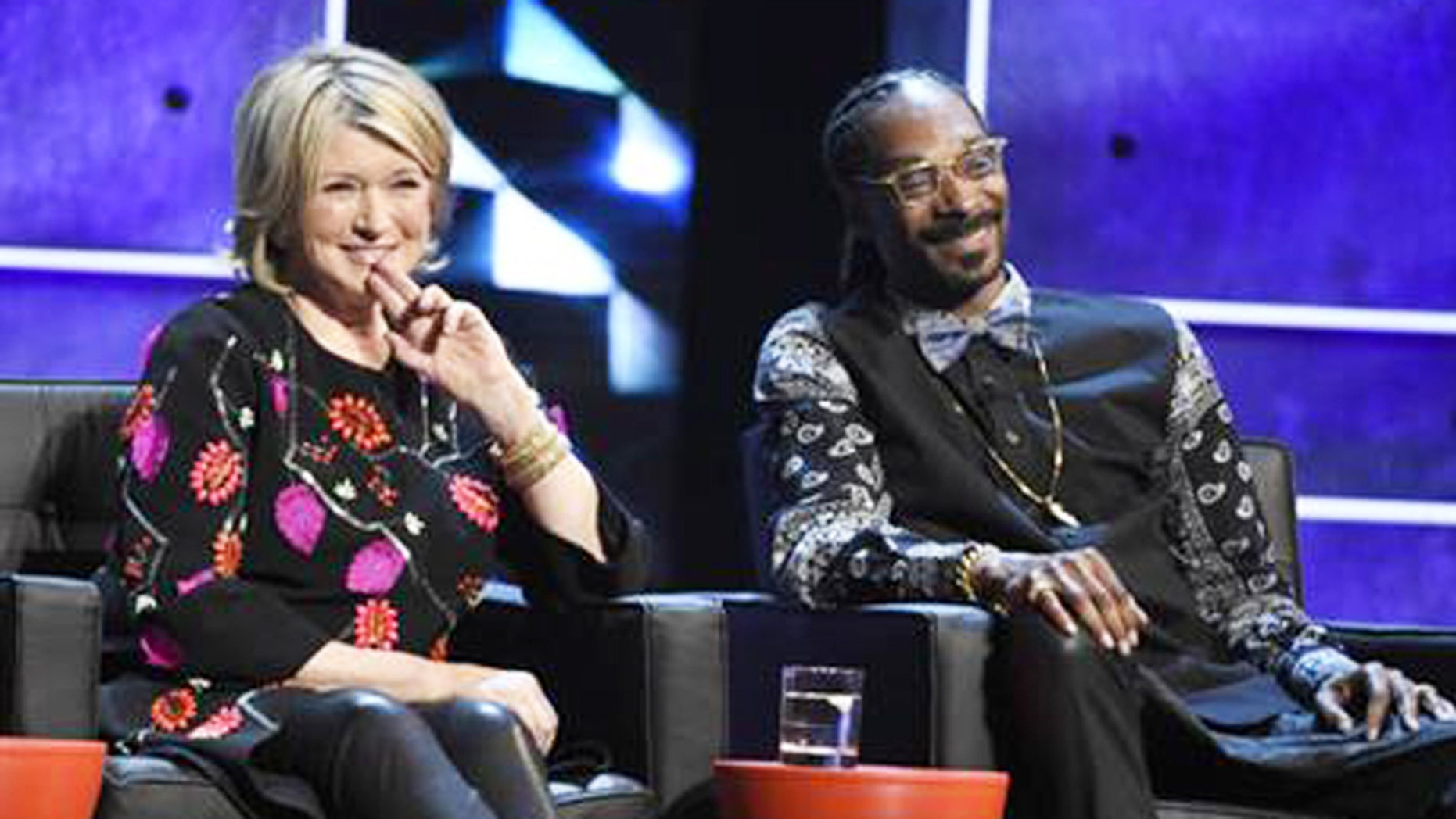 Martha Stewart, left, and Snoop Dogg appeared together on stage at the Comedy Central Roast of Justin Bieber in 2015.