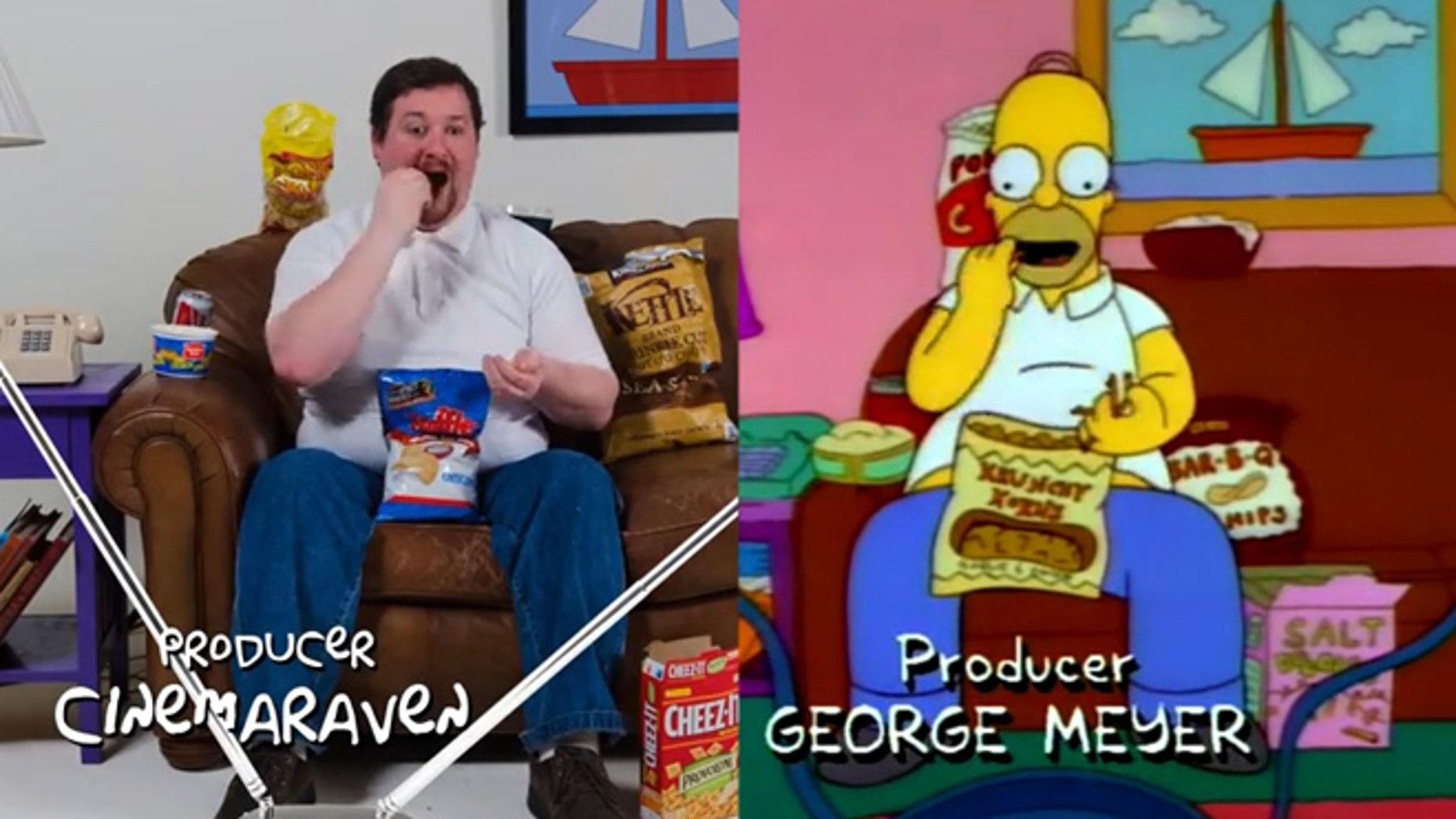A 'Simpsons' fan snacks like his cartoon idol.