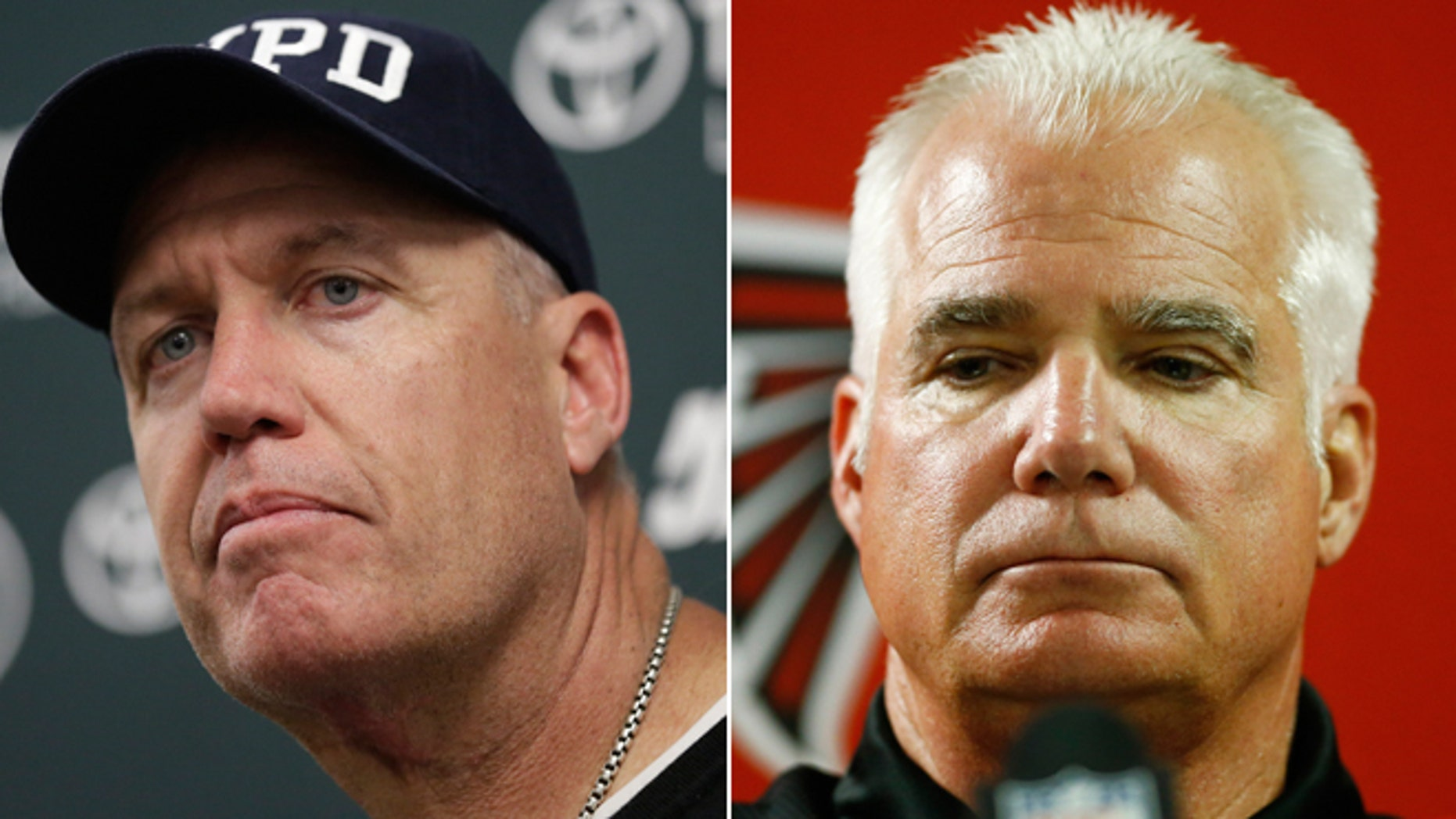 The New York Jets' Rex Ryan and the Atlanta Falcons' Mike Smith.
