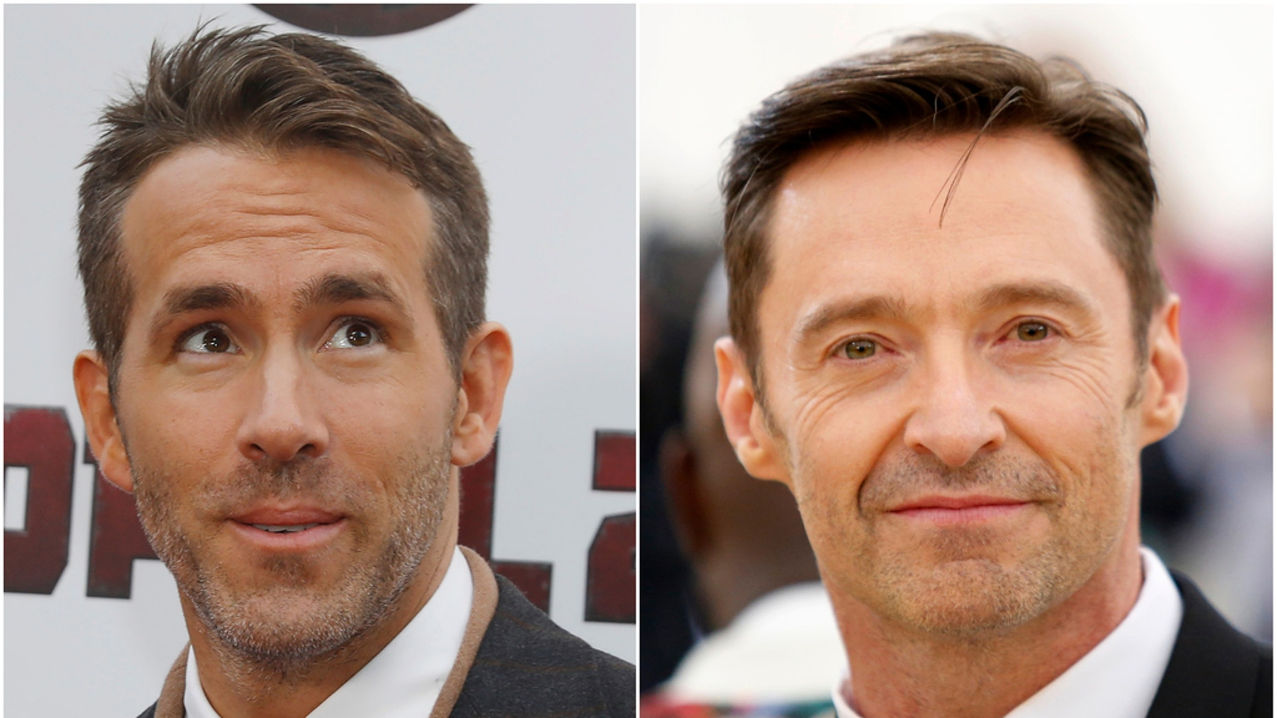 """Ryan Reynolds (left) and Hugh Jackman (right) joke about """"Deadpool 2,"""" and a future collaboration in May 2018."""