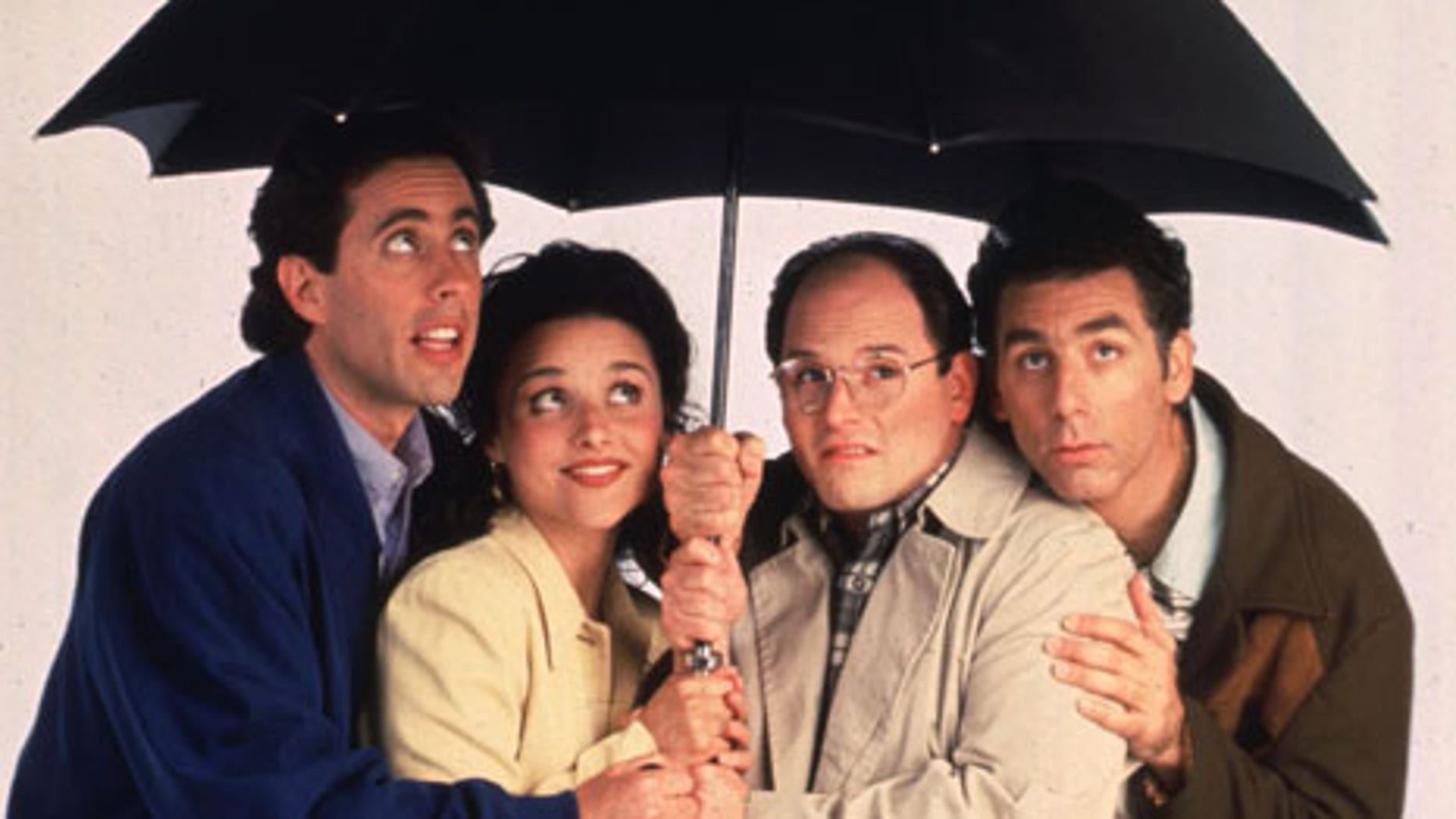 """The stars of the television series """"Seinfeld"""" are shown in this undated publicity photograph. Shown (L-R): Jerry Seinfeld, Julia Louis Dreyfuss, Jason Alexander and Michael Richards. """"Seinfeld"""" will end its successful run on the NBC network in a series finale May 14.FSP/SV - RTRDU81"""
