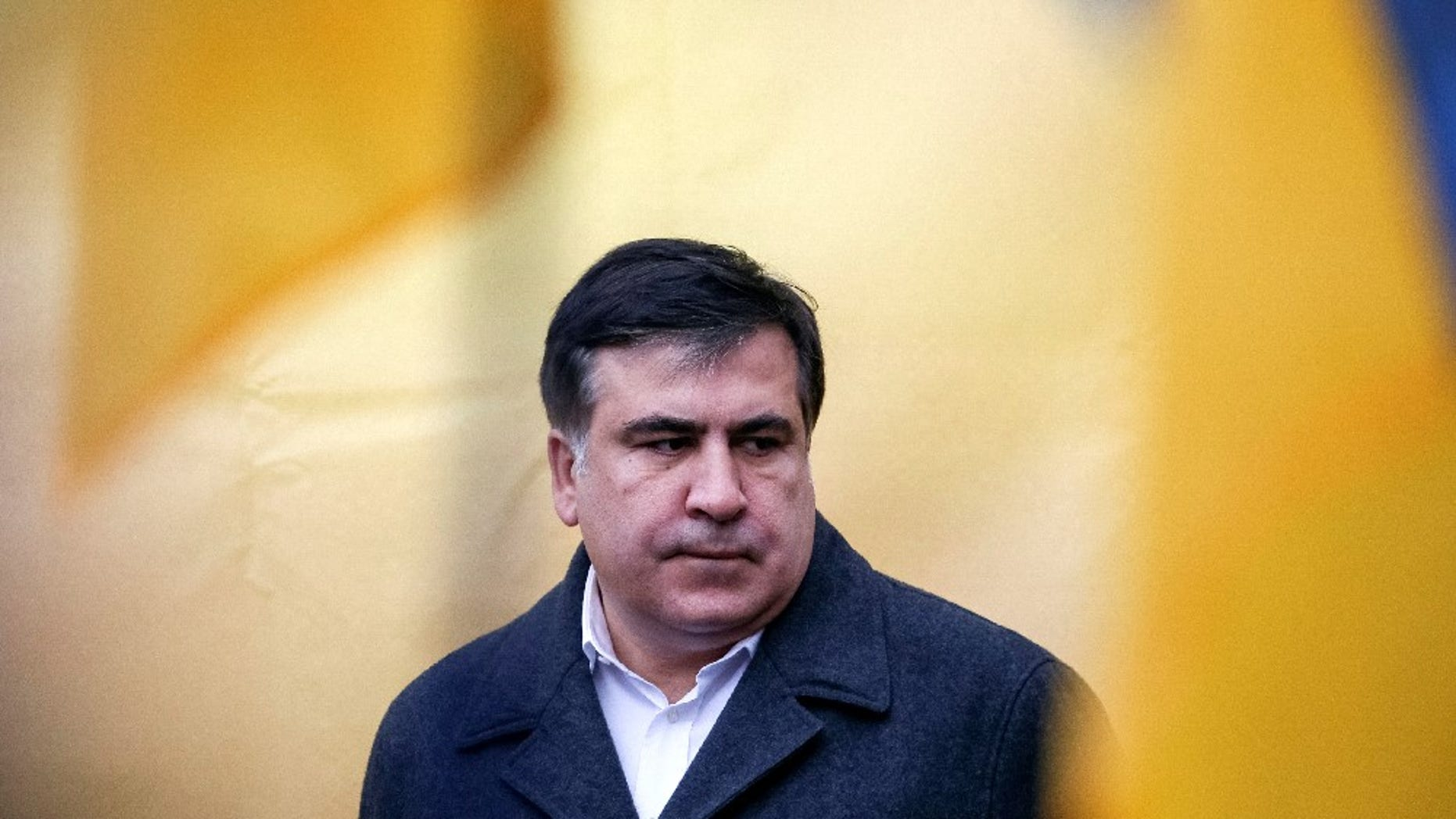 FILE -- Former Georgian President and former governor of Odessa region Mikheil Saakashvili attends anti-government and in support of him rally in central Kiev, Ukraine, November 27, 2016.