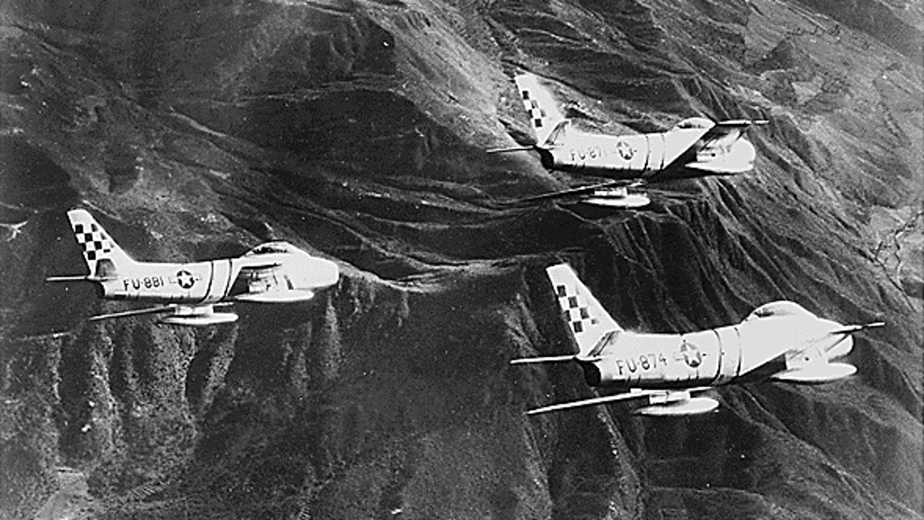 US Air Force F-86 Sabre jets in 1952.