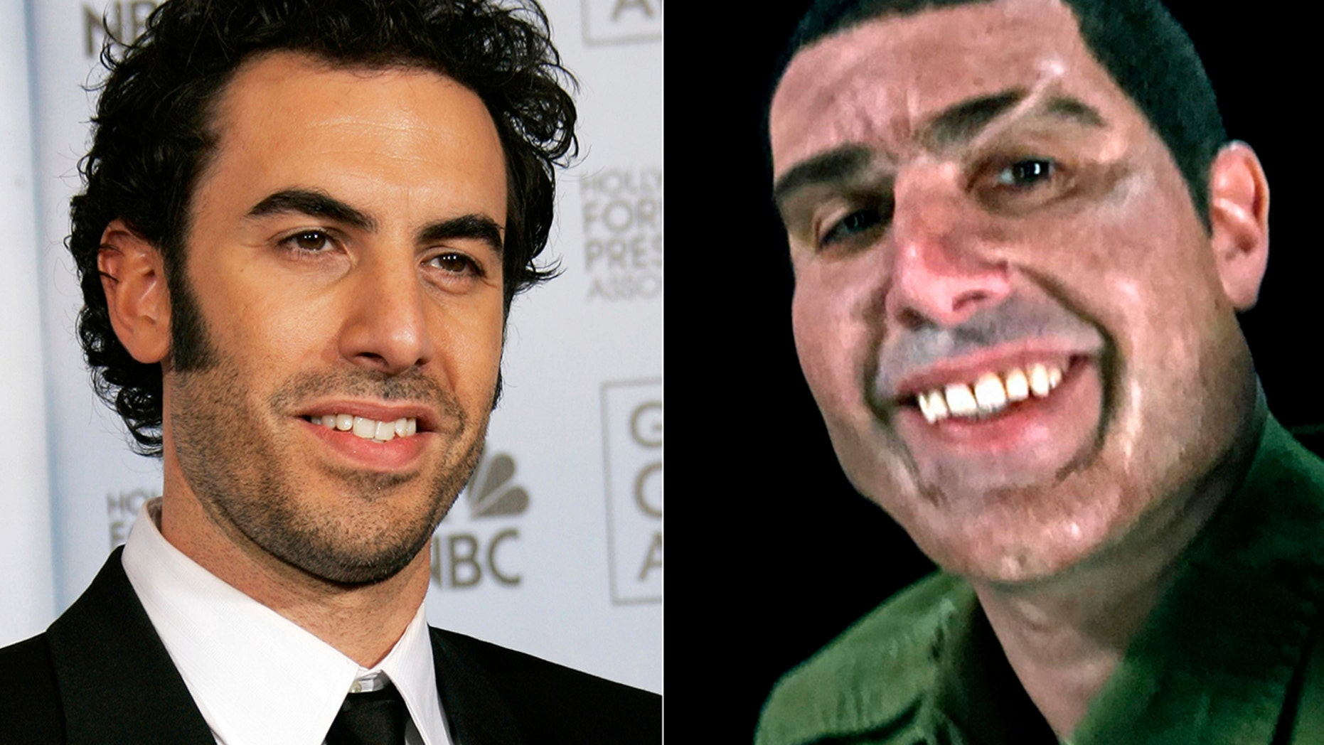 "This combination photo shows Sacha Baron Cohen at the 64th Annual Golden Globe Awards in Beverly Hills, Calif., on Jan. 15, 2007, left, and Cohen portraying retired Israeli Colonel Erran Morad in a still from the Showtime series, ""Who Is America?"""