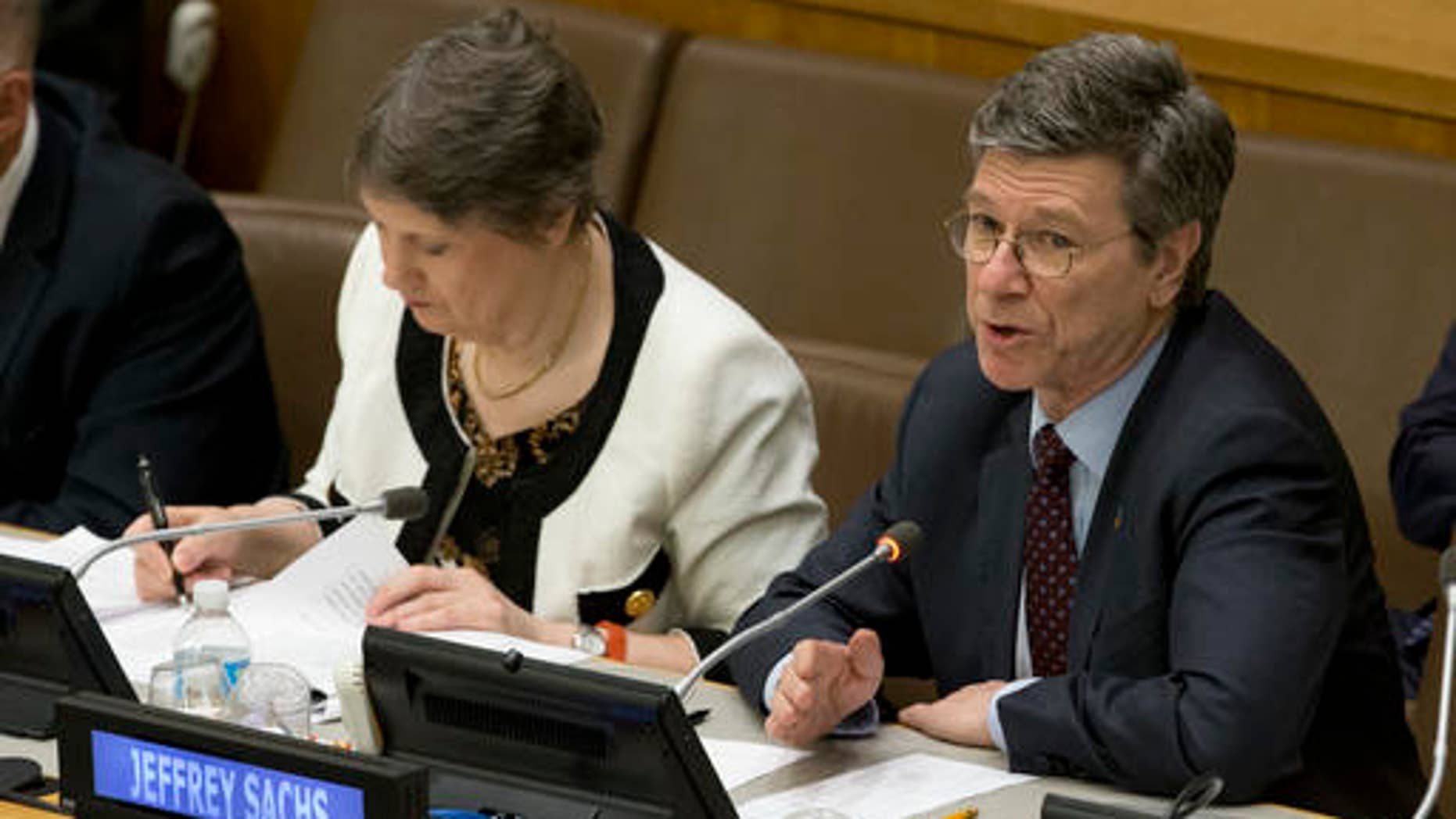 Earth Institute at Columbia University Director Jeffrey Sachs speaks during a high level meeting on the Implementation of the Climate and Development Agendas, April 22, 2016, at U.N. headquarters. (AP Photo/Mary Altaffer)