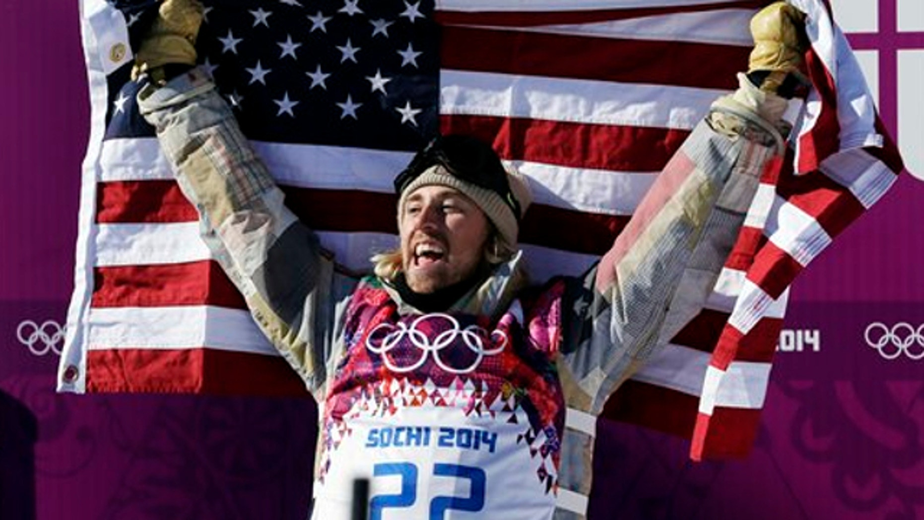 Feb. 8, 2014: United States' Sage Kotsenburg celebrates after winning the men's snowboard slopestyle final at the Rosa Khutor Extreme Park, at the 2014 Winter Olympics, in Krasnaya Polyana, Russia.