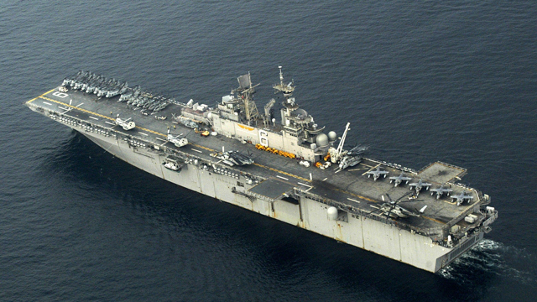 Jan. 4, 2005: FILE - In this file photo, the USS Bonhomme Richard (LHD 6) steams off the coast of Sumatra, Indonesia while conducting humanitarian assistance.