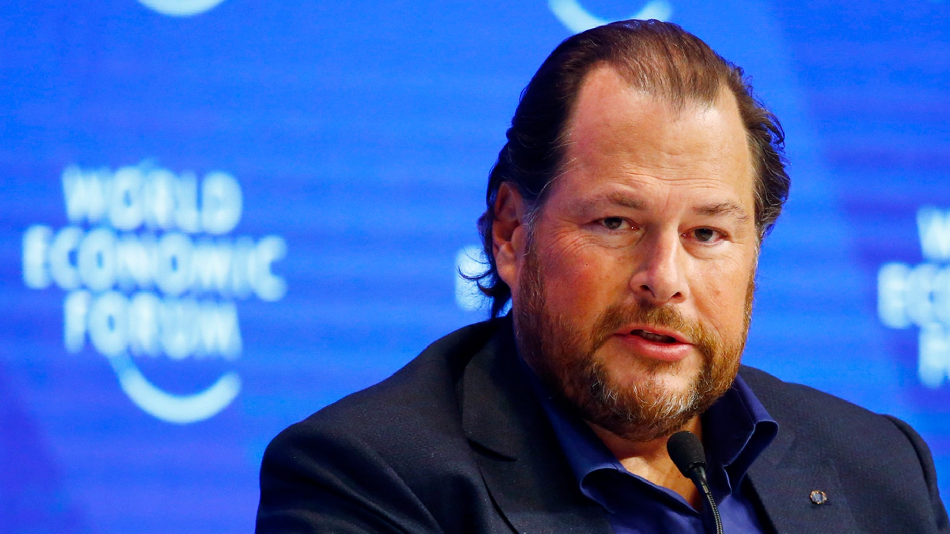 Marc Benioff, Chairman and CEO of Salesforce attends the annual meeting of the World Economic Forum (WEF) in Davos, Switzerland, January 17, 2017. REUTERS/Ruben Sprich - LR1ED1H1DWS0L