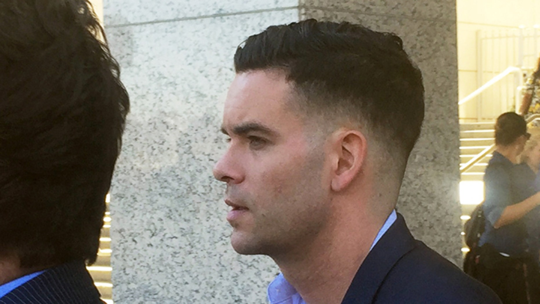 'Glee' actor Mark Salling outside federal court in Los Angeles after pleading not guilty to federal pornography charges.