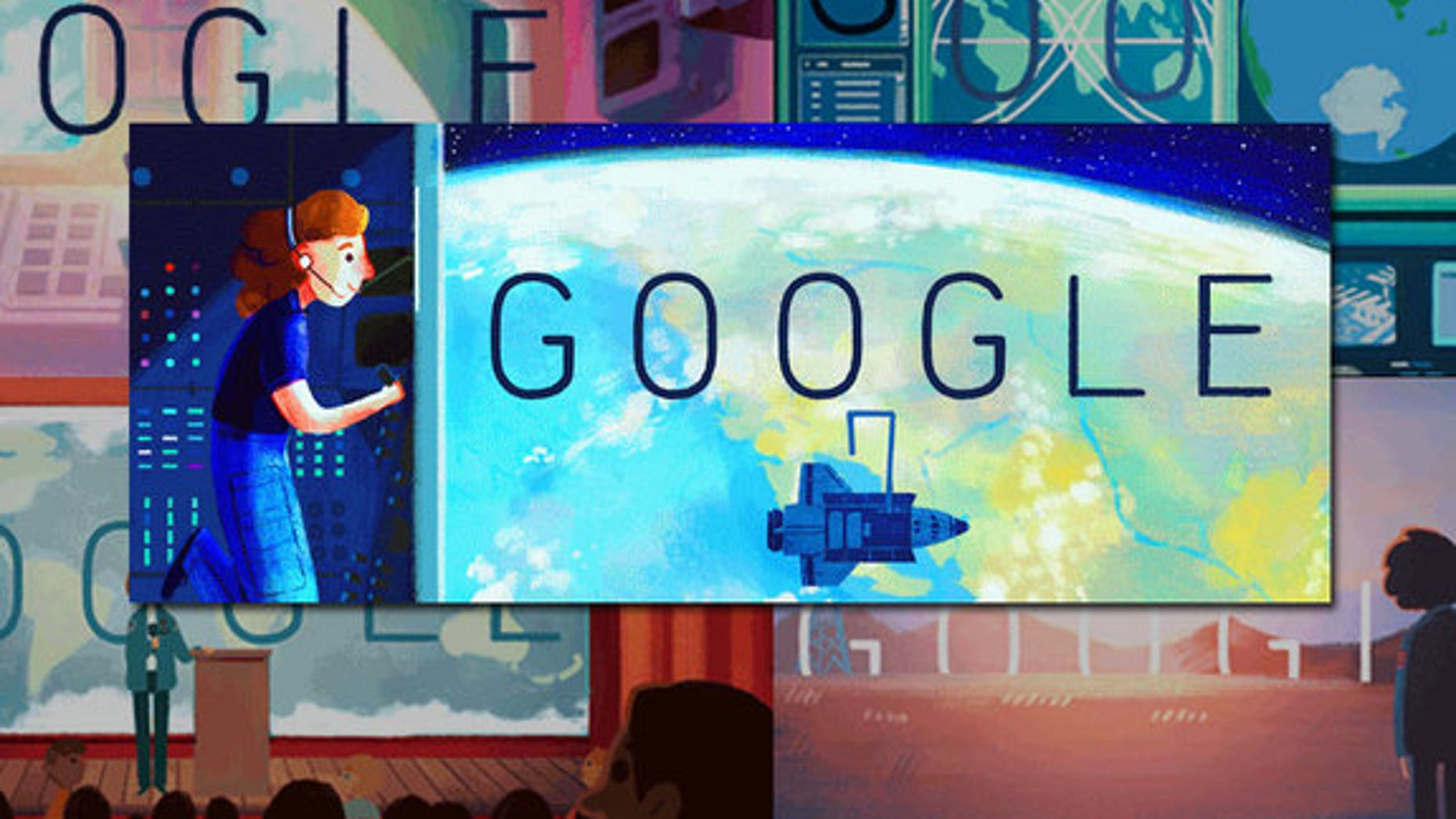 """Google's front page """"Doodles"""" for May 26, 2015 pay tribute to the first American woman in space, the late Sally Ride."""
