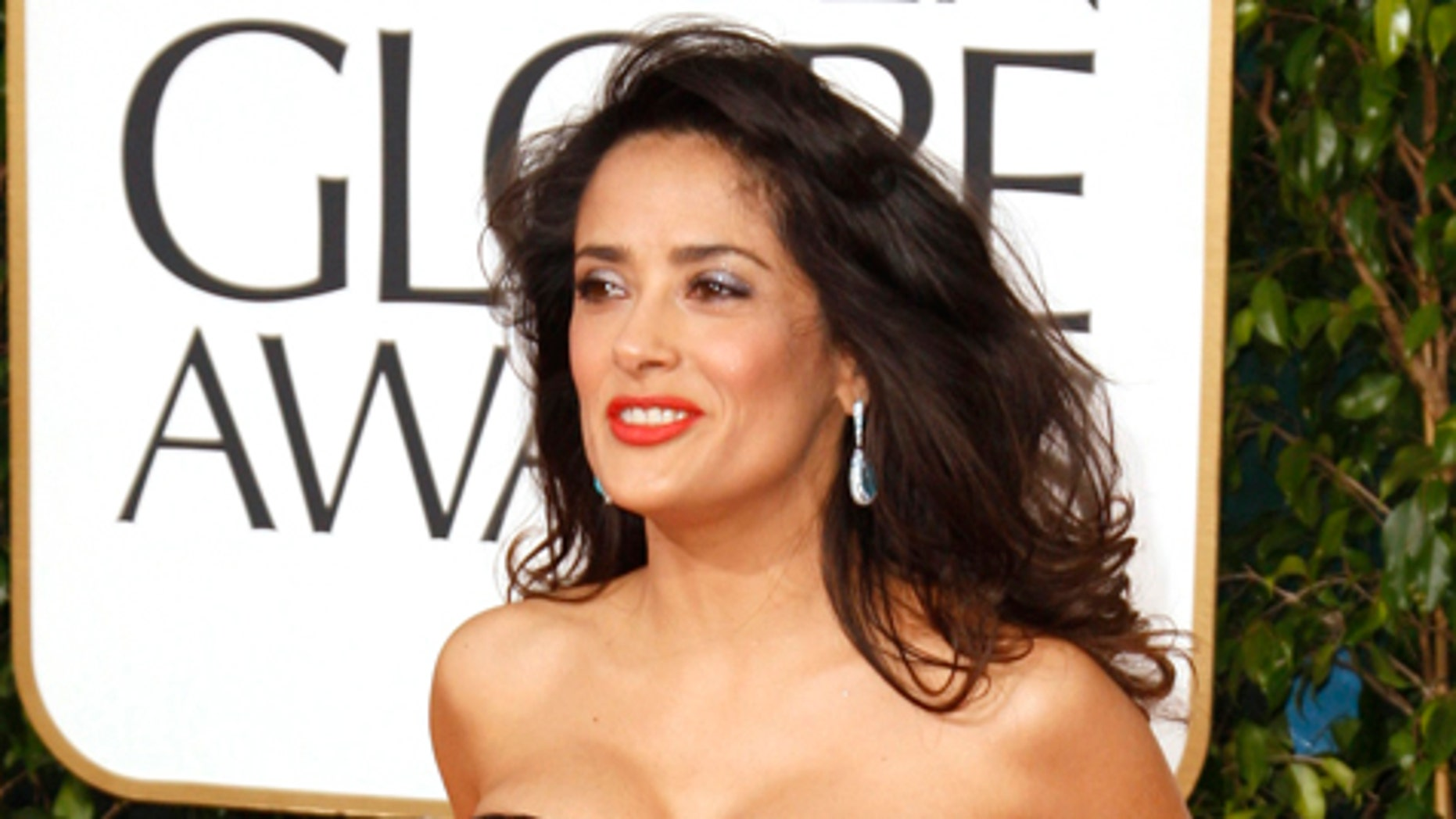 Actress Salma Hayek at the 70th annual Golden Globe Awards in Beverly Hills, California January 13, 2013.