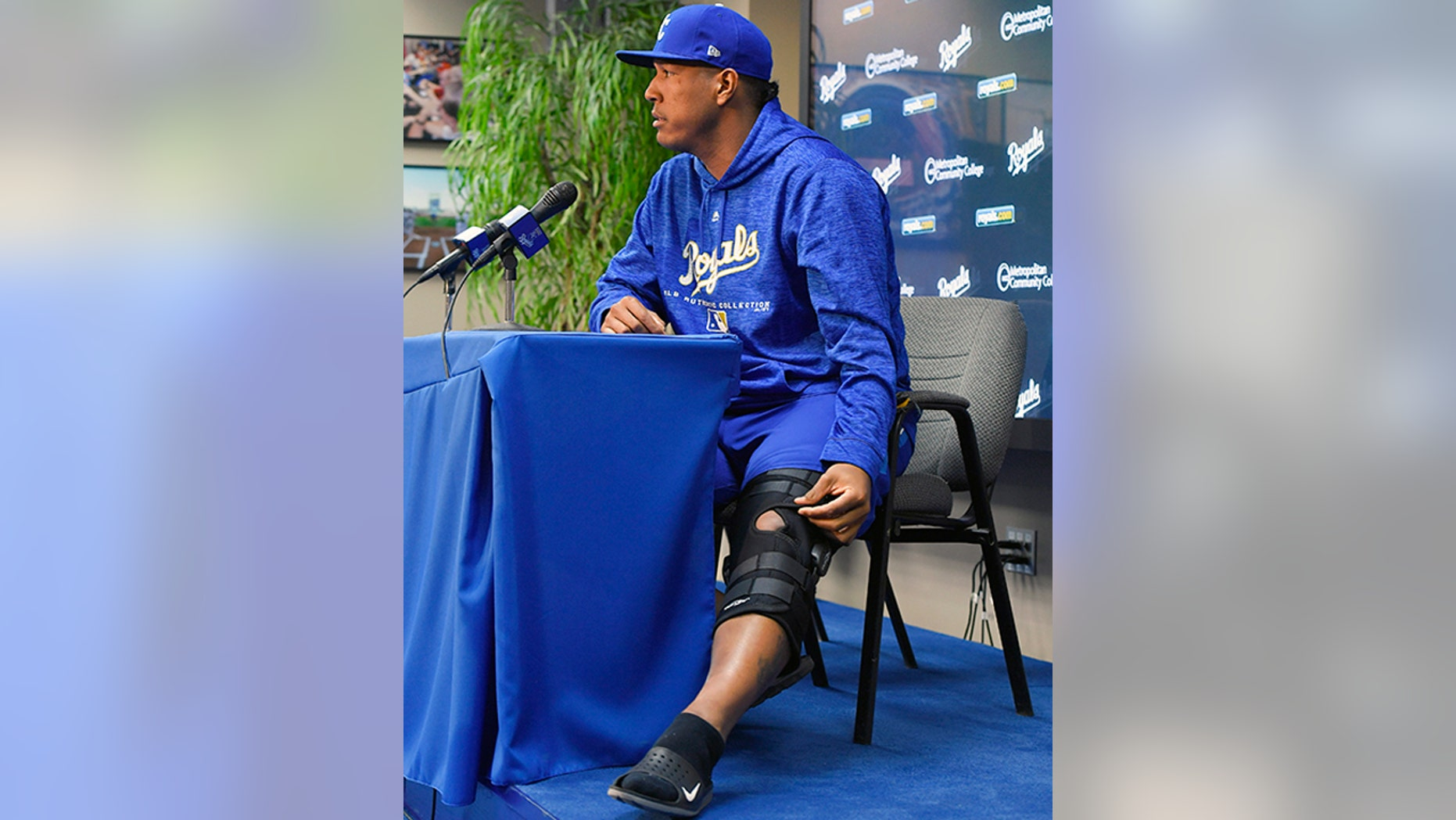 Kansas City Royals catcher Salvador Perez talks to the media Wednesday about his knee injury.