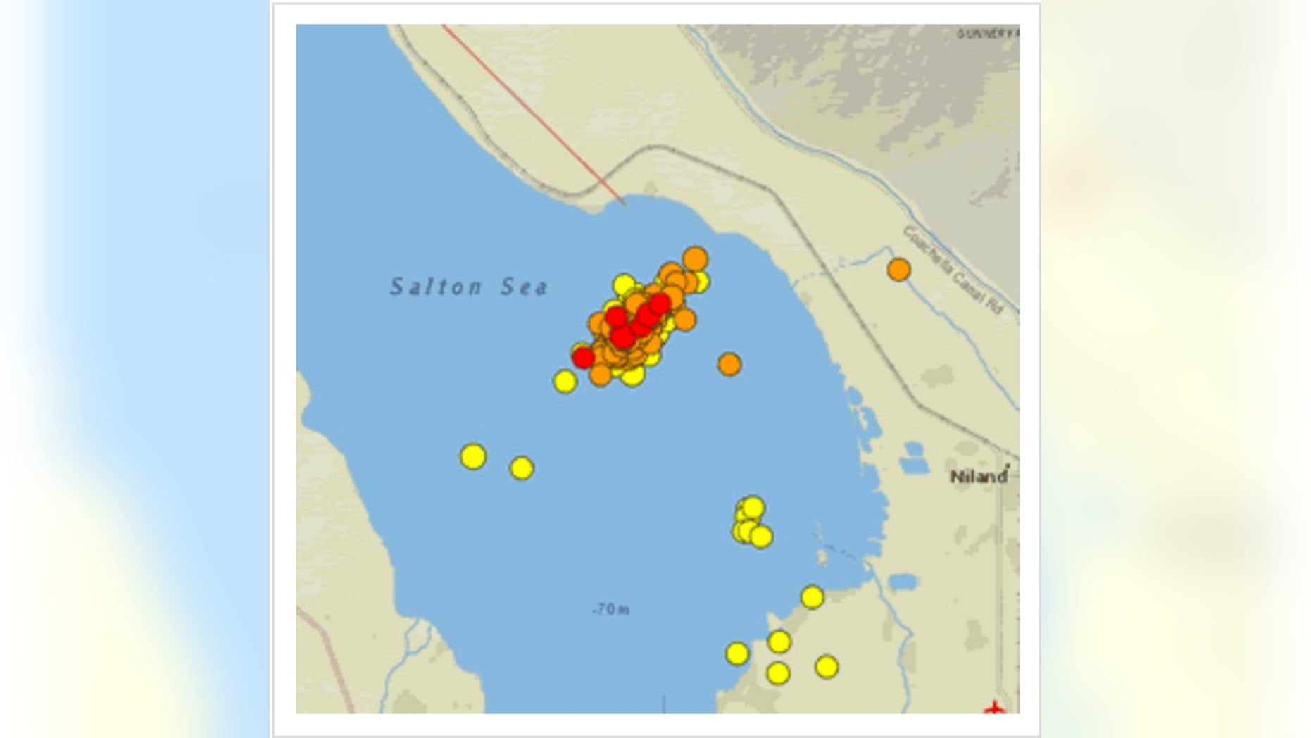 Earthquakes in the Brawley seismic zone as of the evening of Sept. 27, 2016.