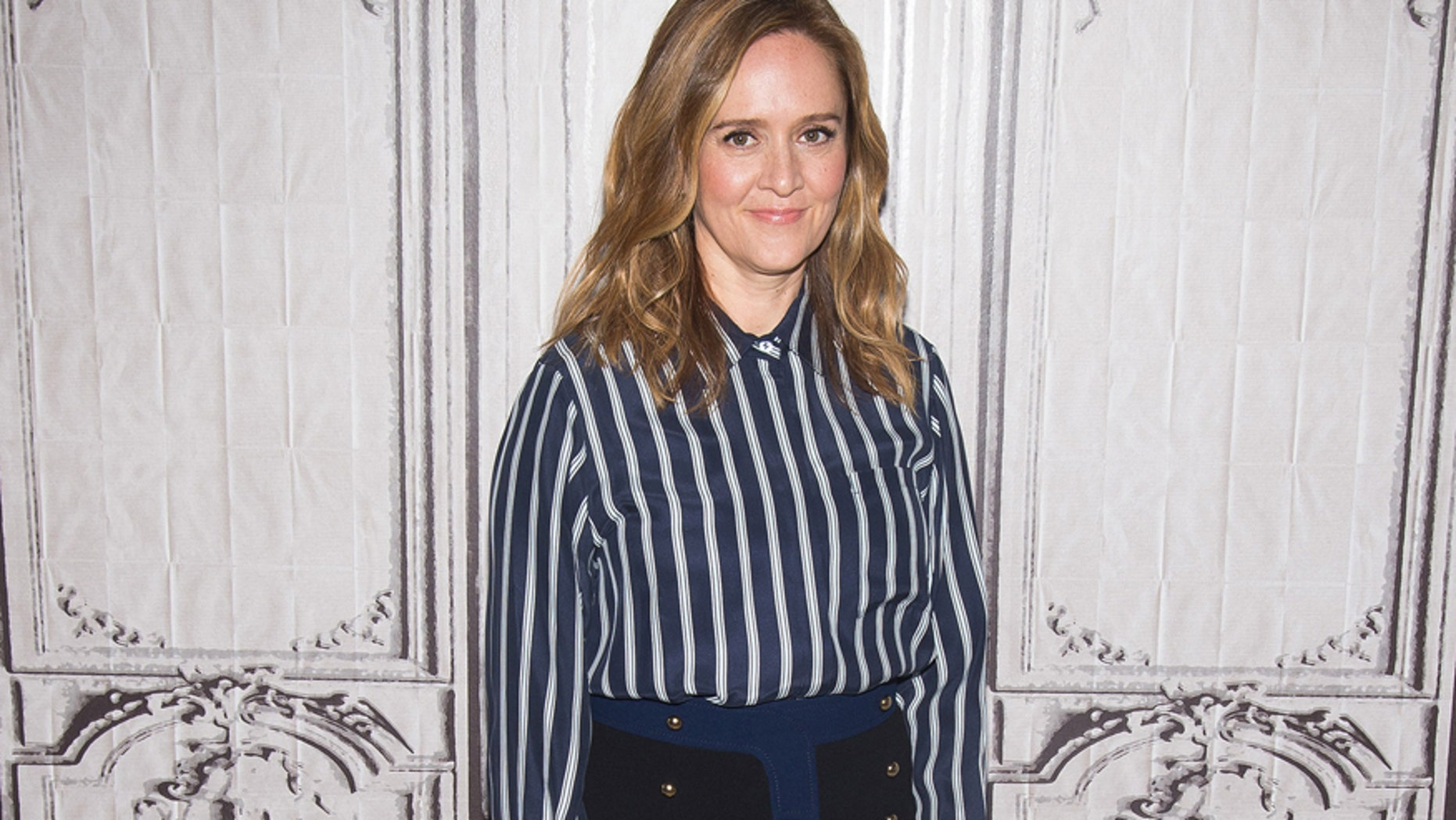 """Samantha Bee participates in AOL's BUILD speaker series to discuss her new TBS series """"Full Frontal with Samantha Bee"""" at AOL Studios on Wednesday, April 6, 2016, in New York. (Photo by Charles Sykes/Invision/AP)"""