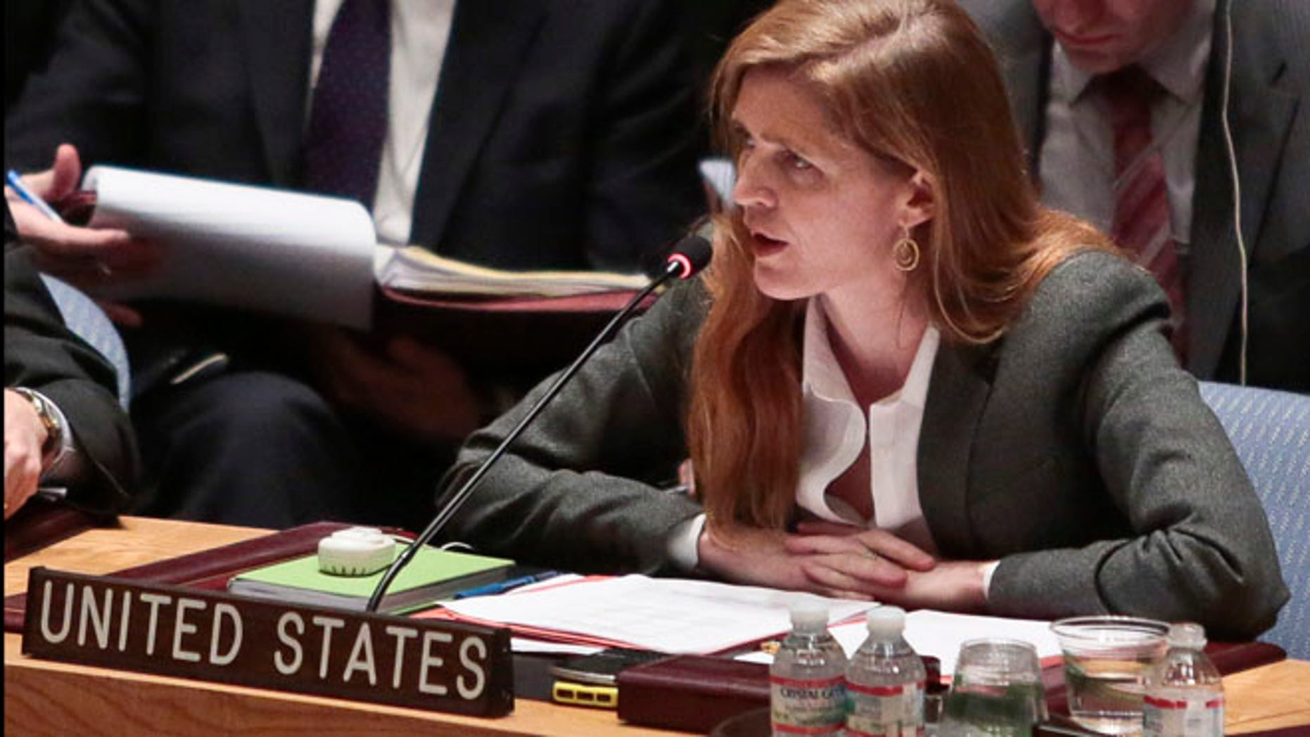 March 3, 2014: U.S. Ambassador to the United Nations Samantha Power speaks during a meeting of the U.N. Security Council on Ukraine.