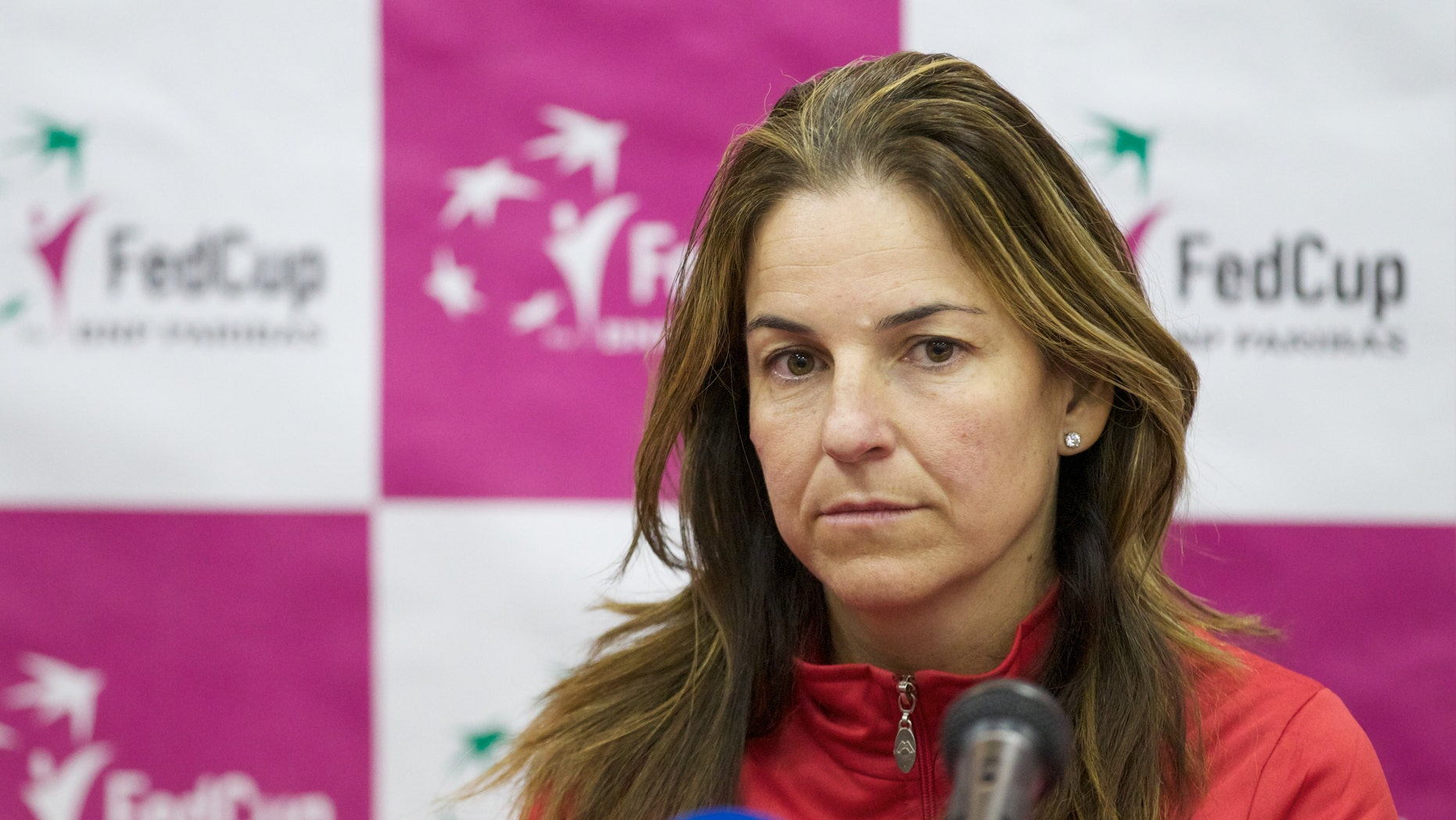 Spanish team captain Arantxa Sanchez Vicario listens to a question during the team's news conference in Moscow, Russia, Wednesday, Feb. 1, 2012.
