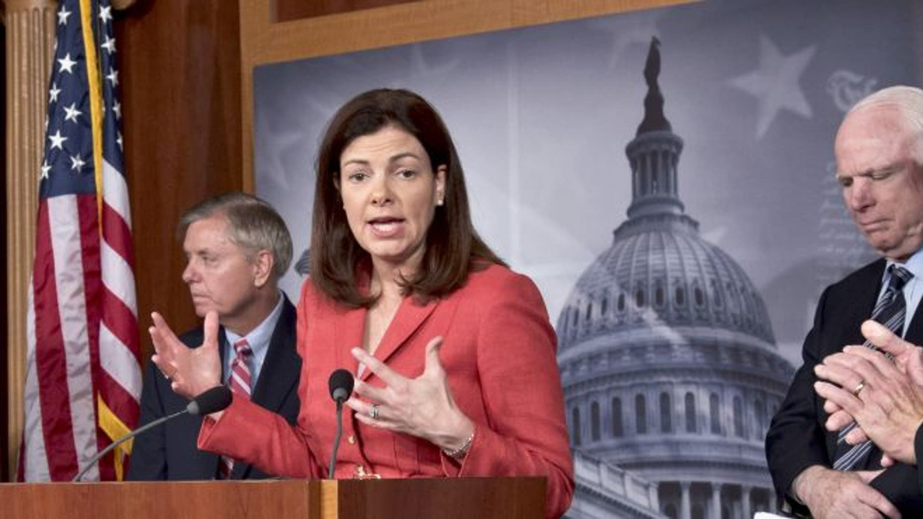 FILE: From right to left, Sen. John McCain, R-Ariz., Sen. Kelly Ayotte, R-N.H., and Sen. Lindsey Graham, R-S.C.