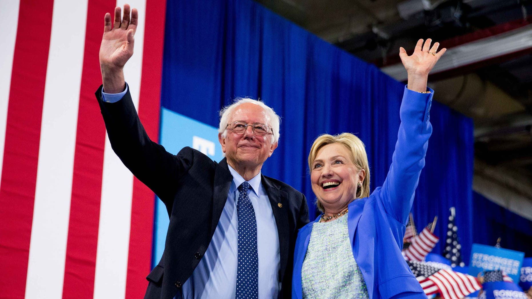 Hillary Clinton and Sen. Bernie Sanders during a rally in Portsmouth, N.H., Tuesday, July 12, 2016.