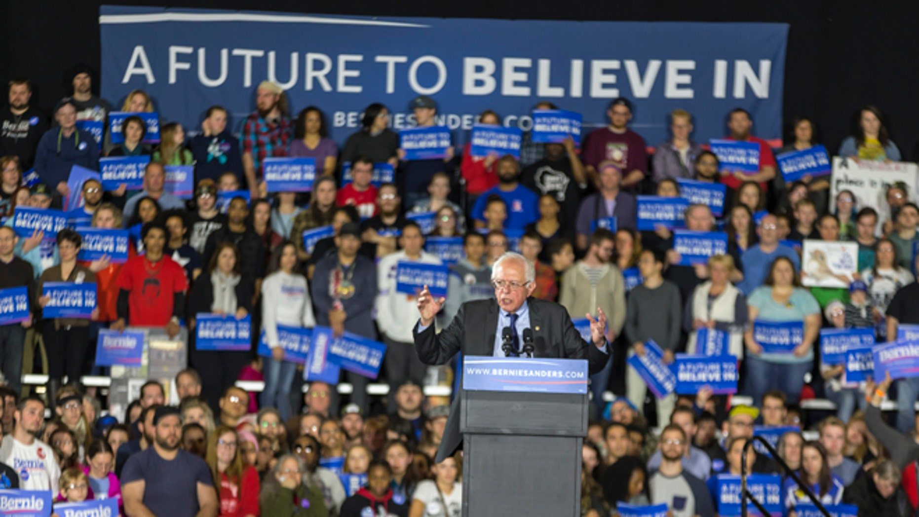 Democratic presidential candidate Sen. Bernie Sanders speaks at a campaign stop Saturday, March 26, 2016, in Madison, Wis. (AP Photo/Andy Manis)