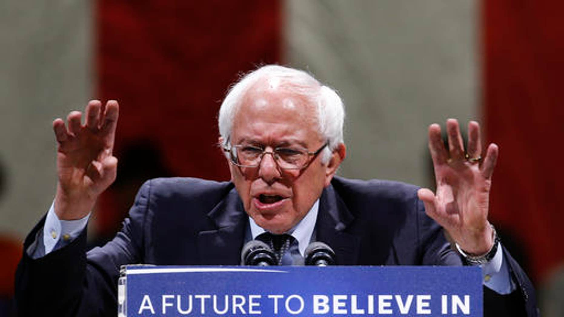 Democratic presidential candidate Sen. Bernie Sanders, I-Vt., speaks during a campaign event, Sunday, April 3, 2016, in Madison, Wisc. (AP Photo/Paul Sancya)