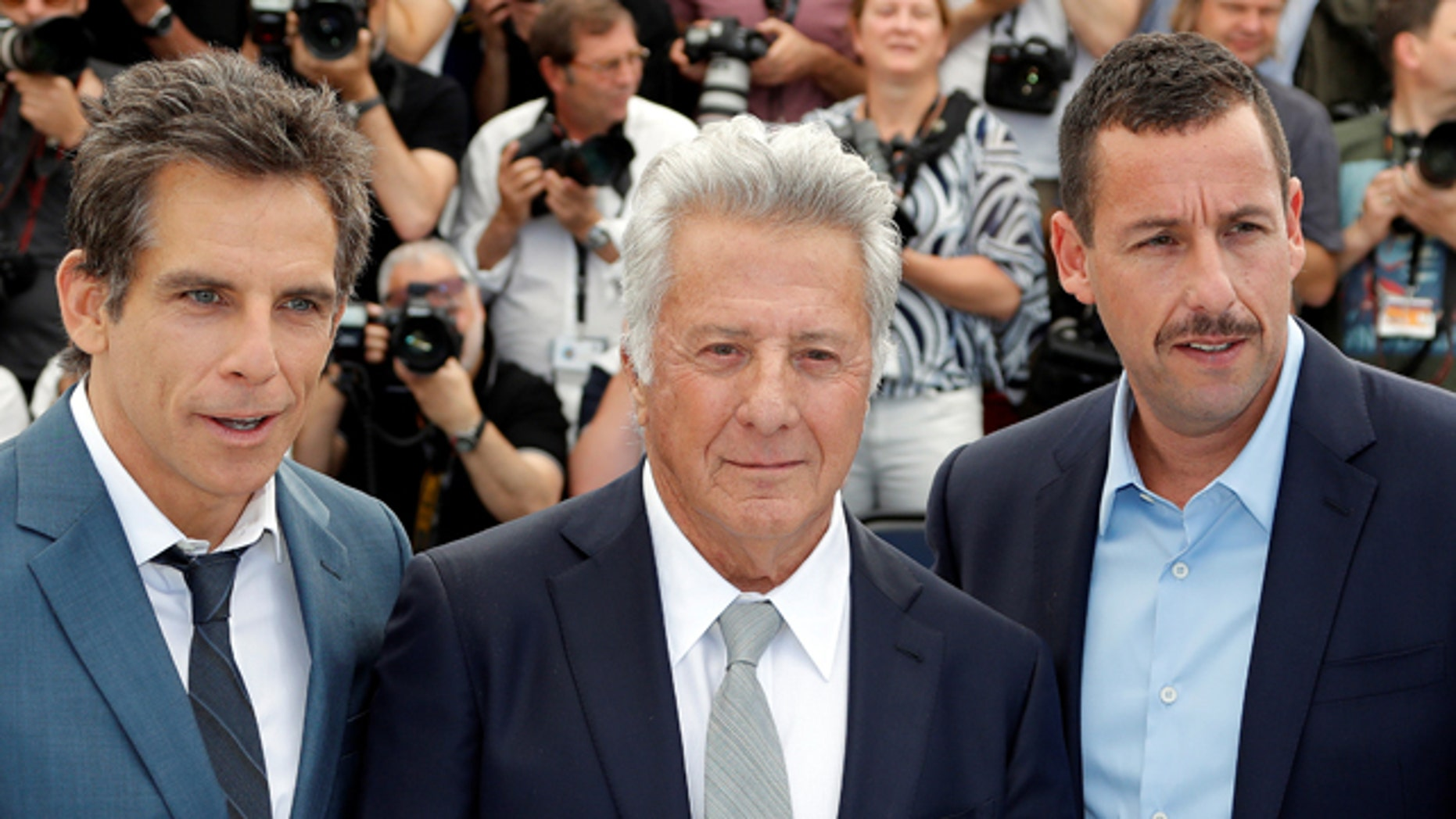 """Ben Stiller, Dustin Hoffman and Adam Sandler at the photocall for """"The Meyerowitz Stories"""" at the Cannes Film Festival."""
