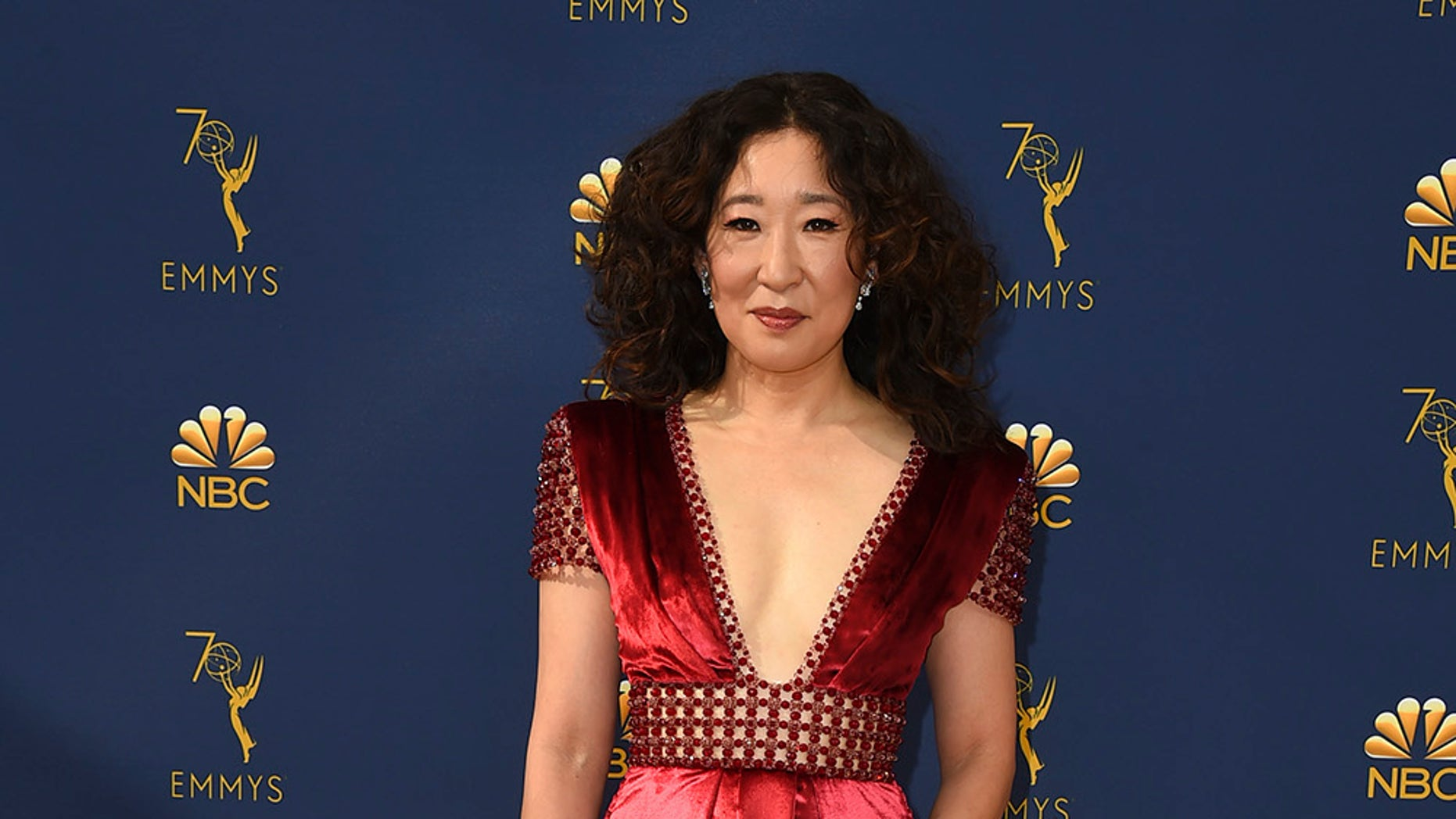 Sandra Oh arrives at the 70th Primetime Emmy Awards on Monday, Sept. 17, 2018, at the Microsoft Theater in Los Angeles. (Photo by Jordan Strauss/Invision/AP)