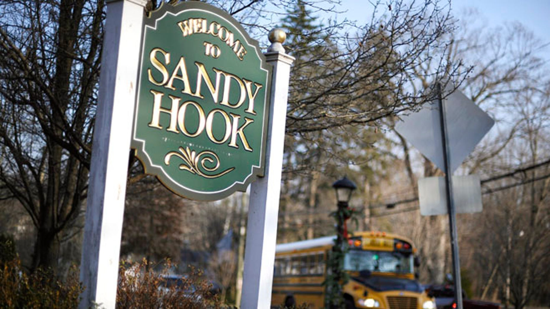 A school bus drives past a lamppost decorated for the holidays, and a sign reading Welcome to Sandy Hook, in Newtown, Conn.