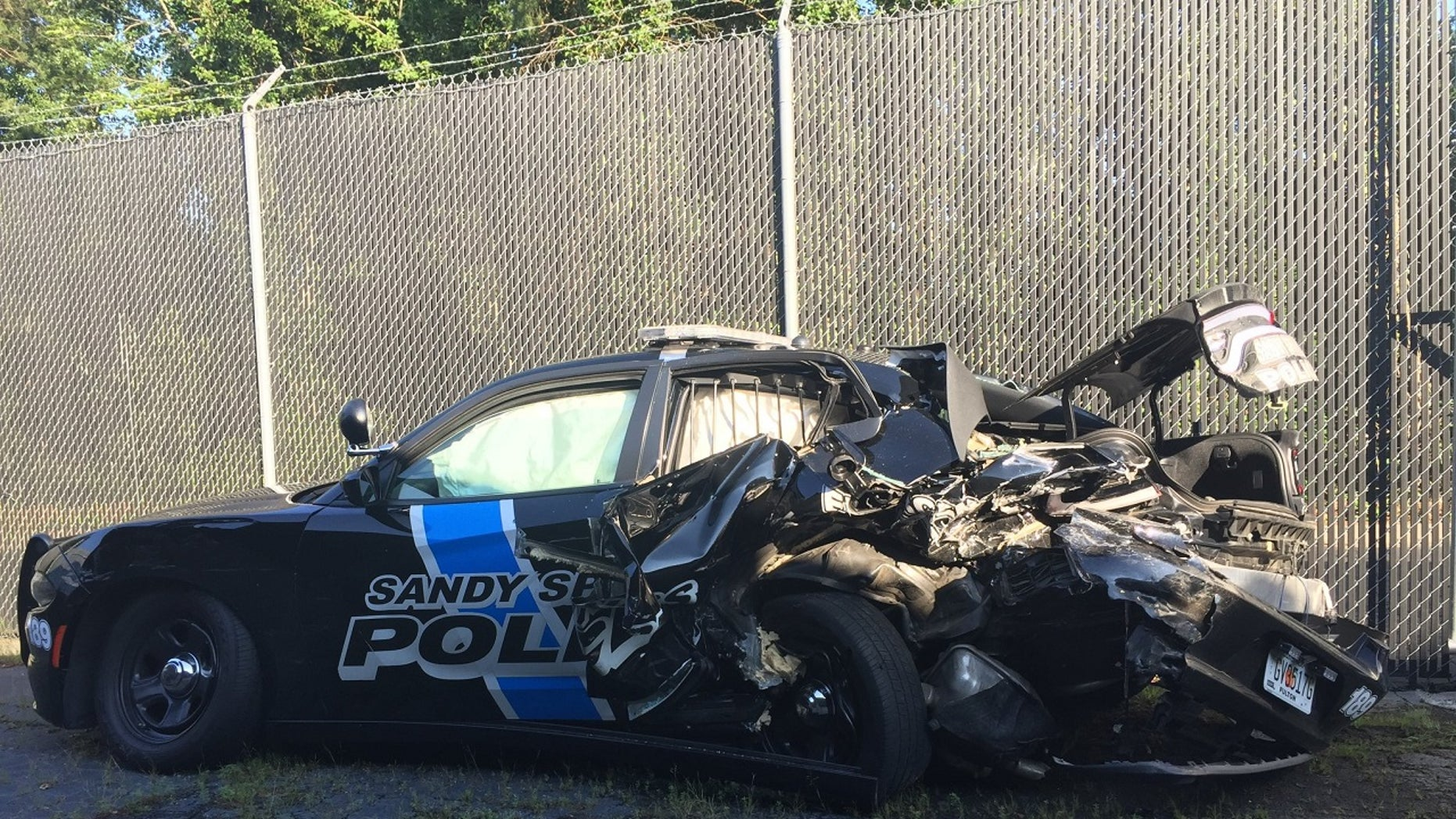 Police in Georgia shared this image on Facebook of a cruiser they said was hit.