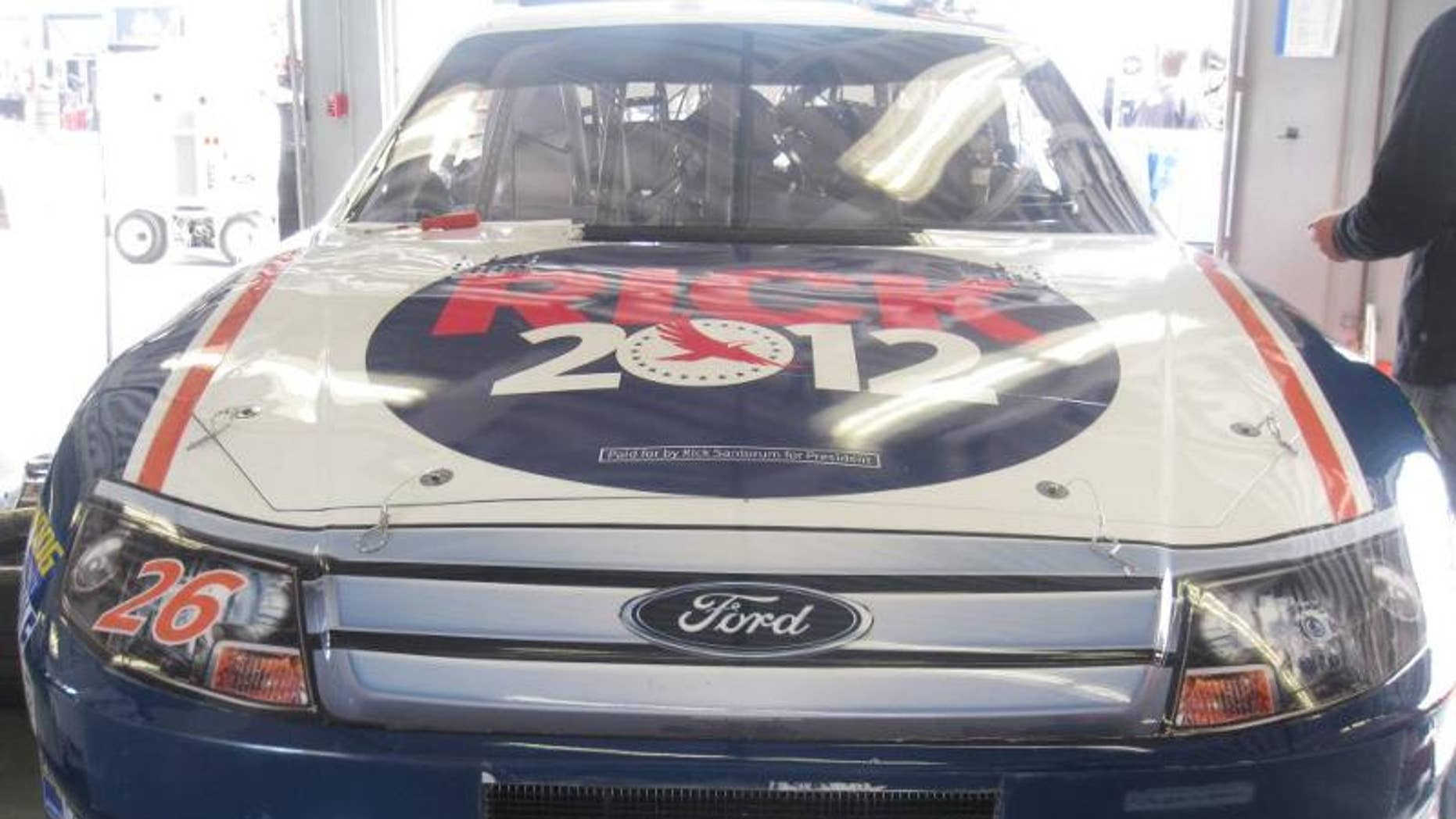 Front Row Motorsports' No. 26 Ford Fusion driven by Tony Raines was sponsored in Sunday's Daytona 500 by presidential candidate Rick Santorum.