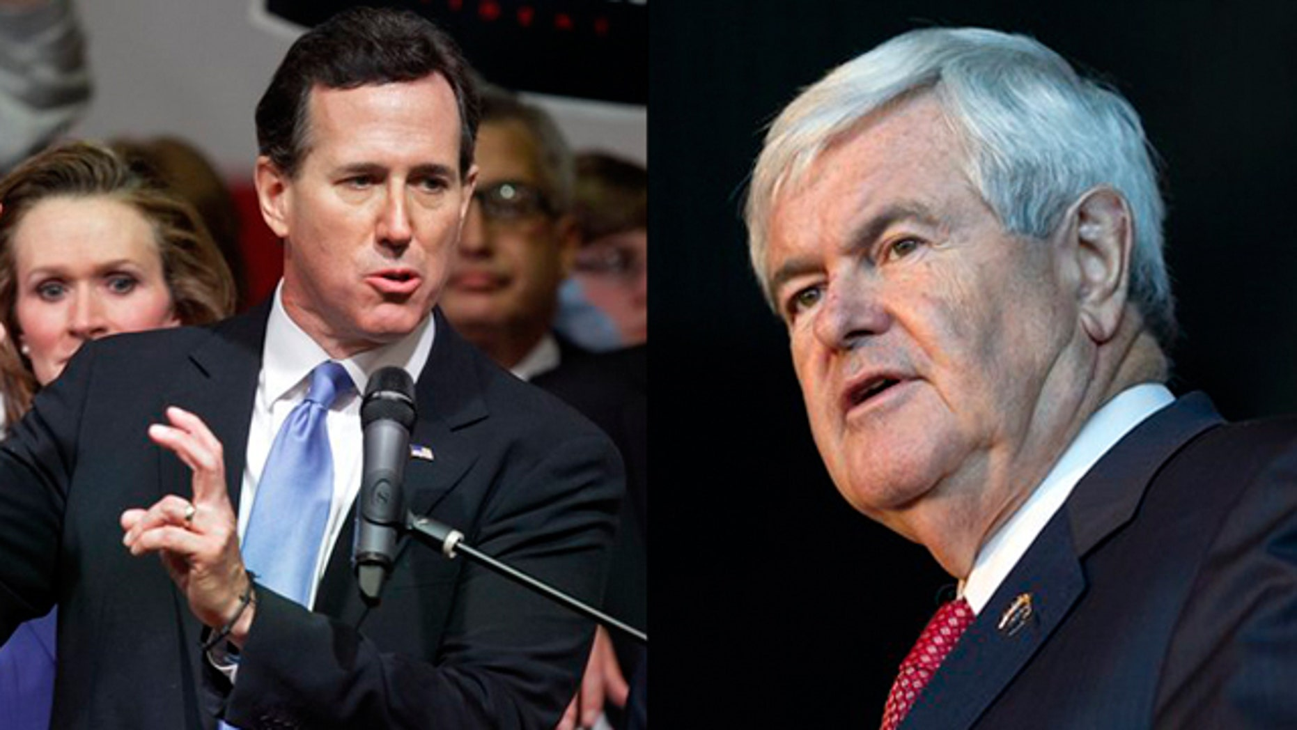 March 6: Rick Santorum, left, and Newt Gingrich are shown on the campaign trail on Super Tuesday.