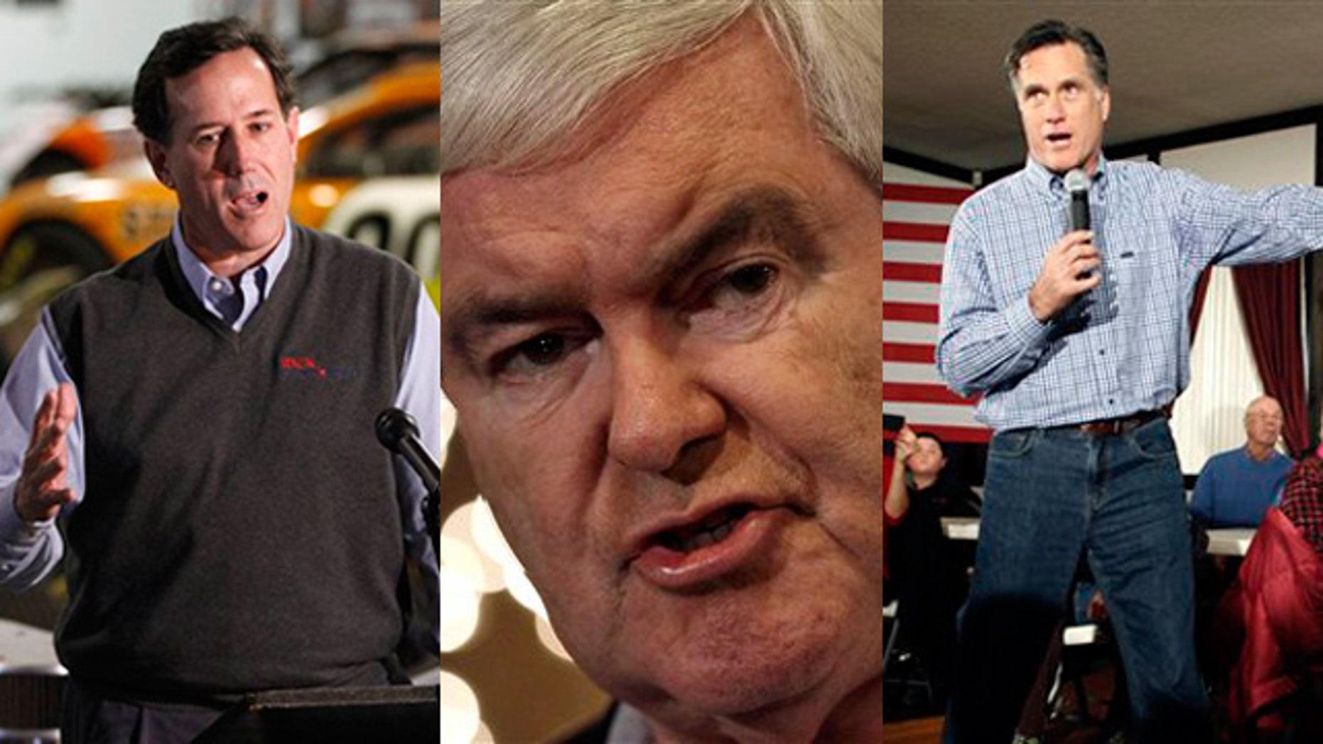 Shown here are Rick Santorum, left, Newt Gingrich, center, and Mitt Romney.