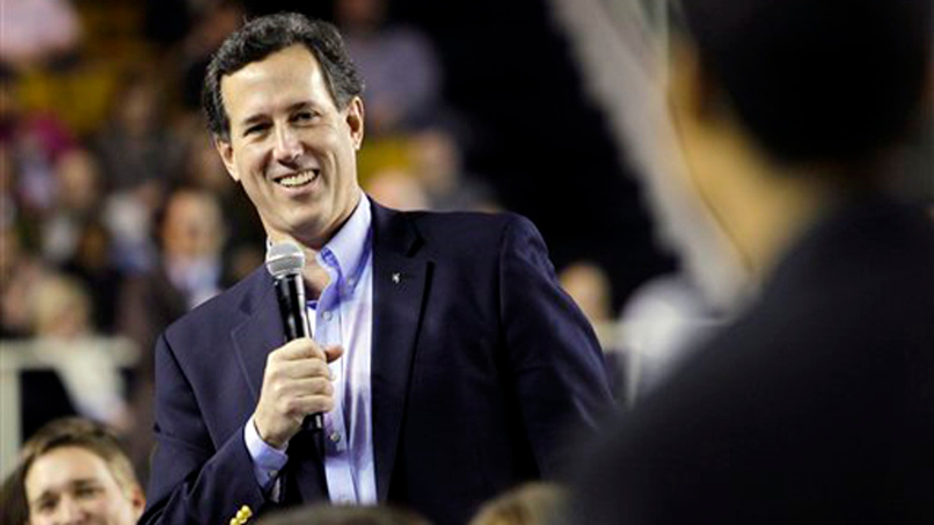 Feb. 9, 2012: Rick Santorum listens to a student's question at Oral Roberts University in Tulsa, Okla.