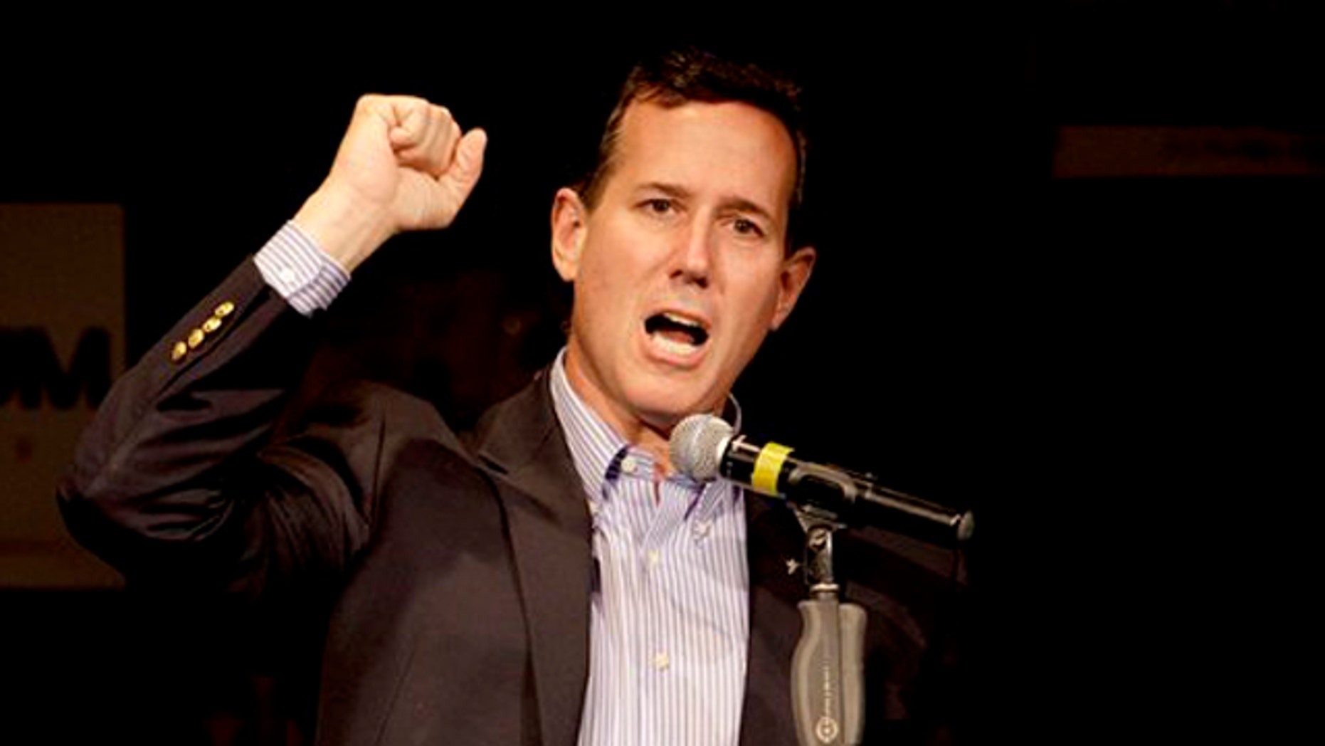 March 16, 2012: Republican presidential candidate, former Pennsylvania Sen. Rick Santorum speaks during a rally in Osage Beach, Mo.