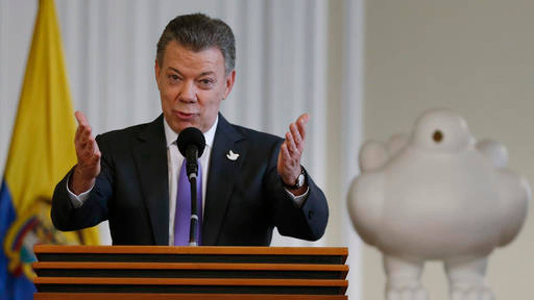 Colombia's President Juan Manuel Santos at the presidential palace in Bogota, Colombia, Friday, Oct. 7, 2016.