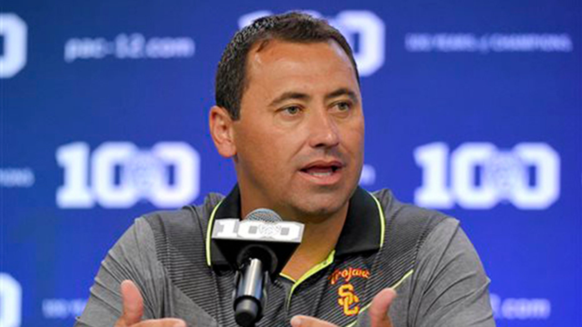 FILE - In this July 31, 2015, file photo, Southern California coach Steve Sarkisian speaks to reporters during NCAA college Pac-12 Football media days in Burbank, Calif.  (AP Photo/Mark J. Terrill, File)